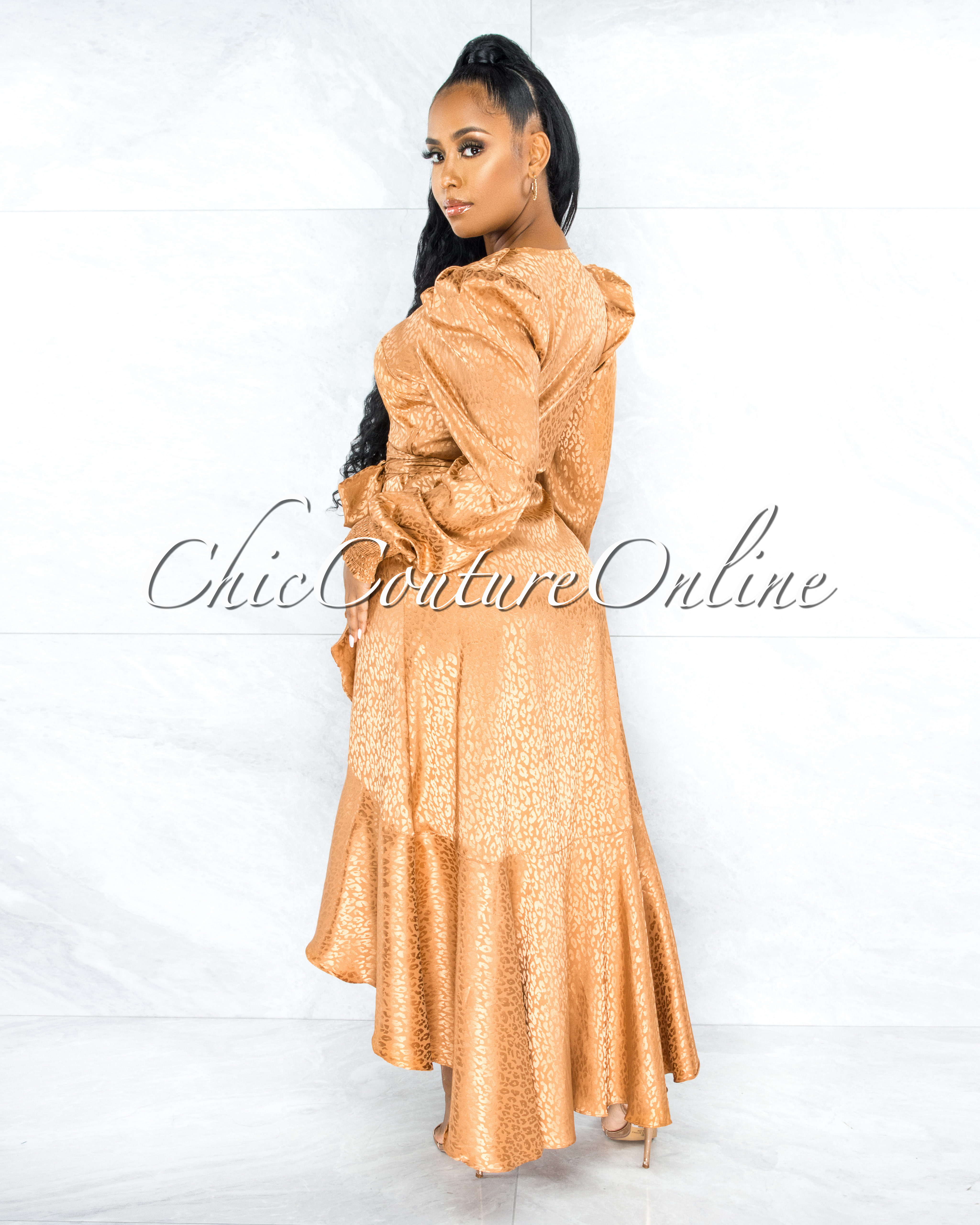 Caprile Gold Leopard Print Satin High Low Ruffle Dress
