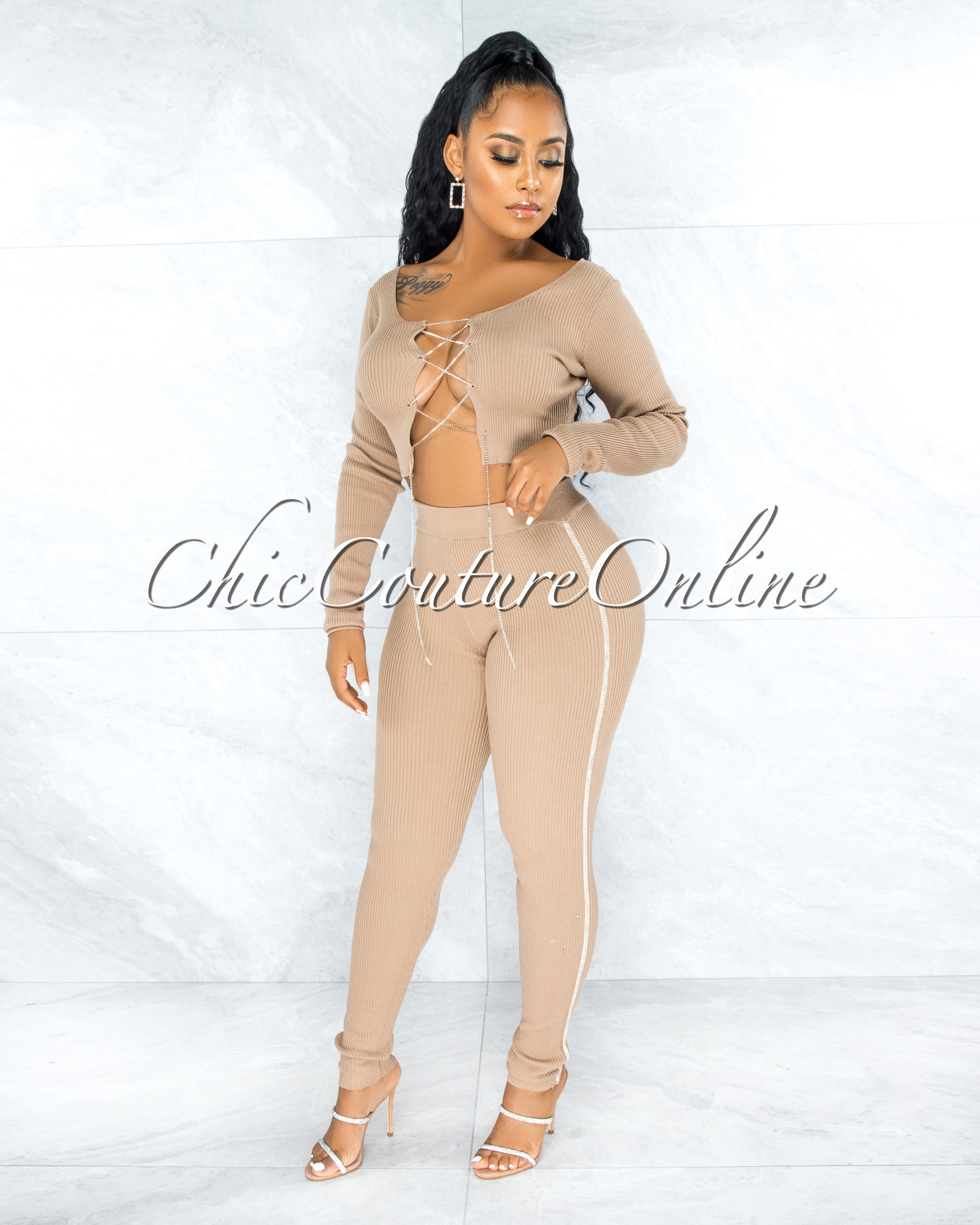 Amunet Nude Rhinestones Lace-Up Top Leggings Ribbed Set