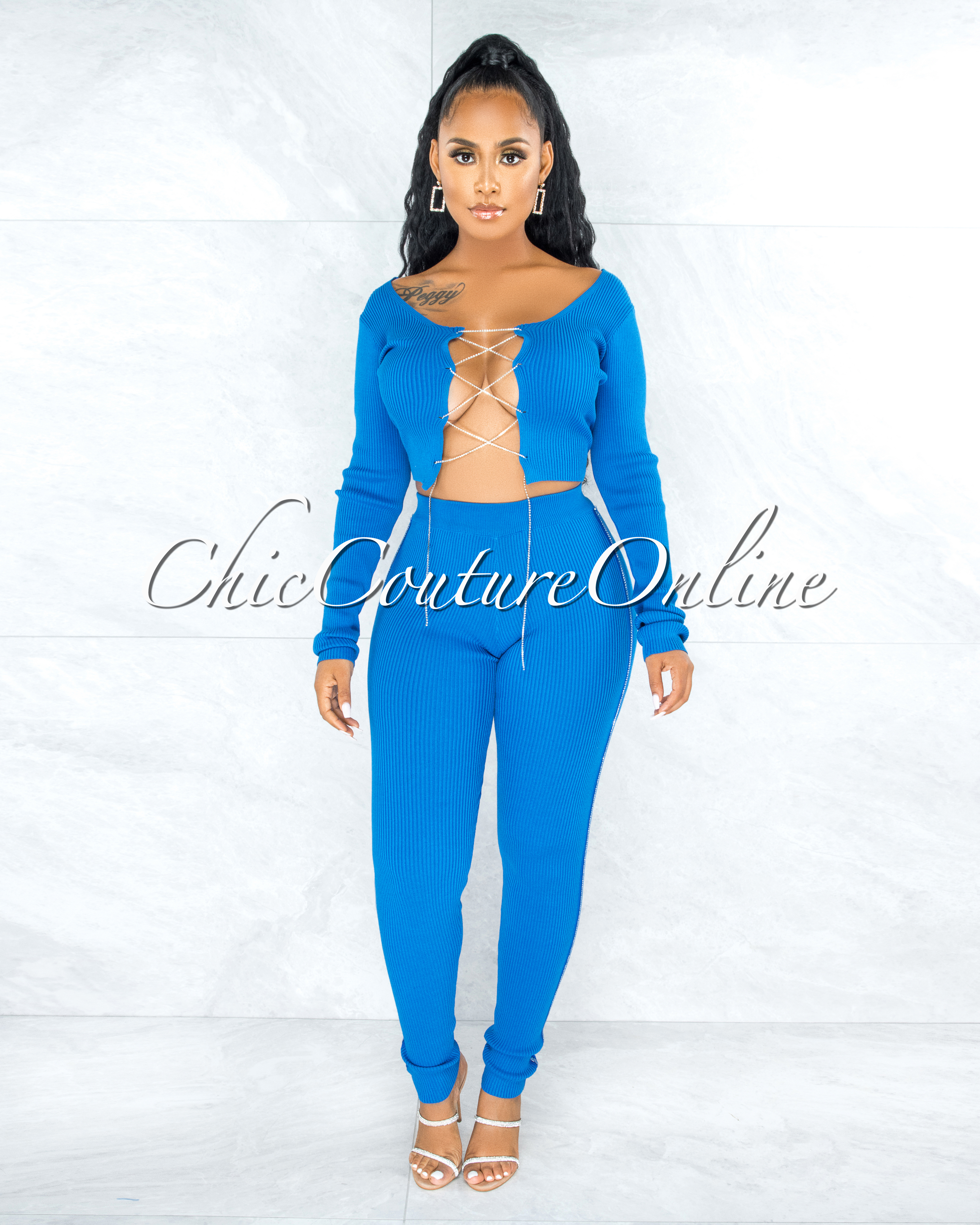 Amunet Royal Blue Rhinestones Lace-Up Top Leggings Ribbed Set