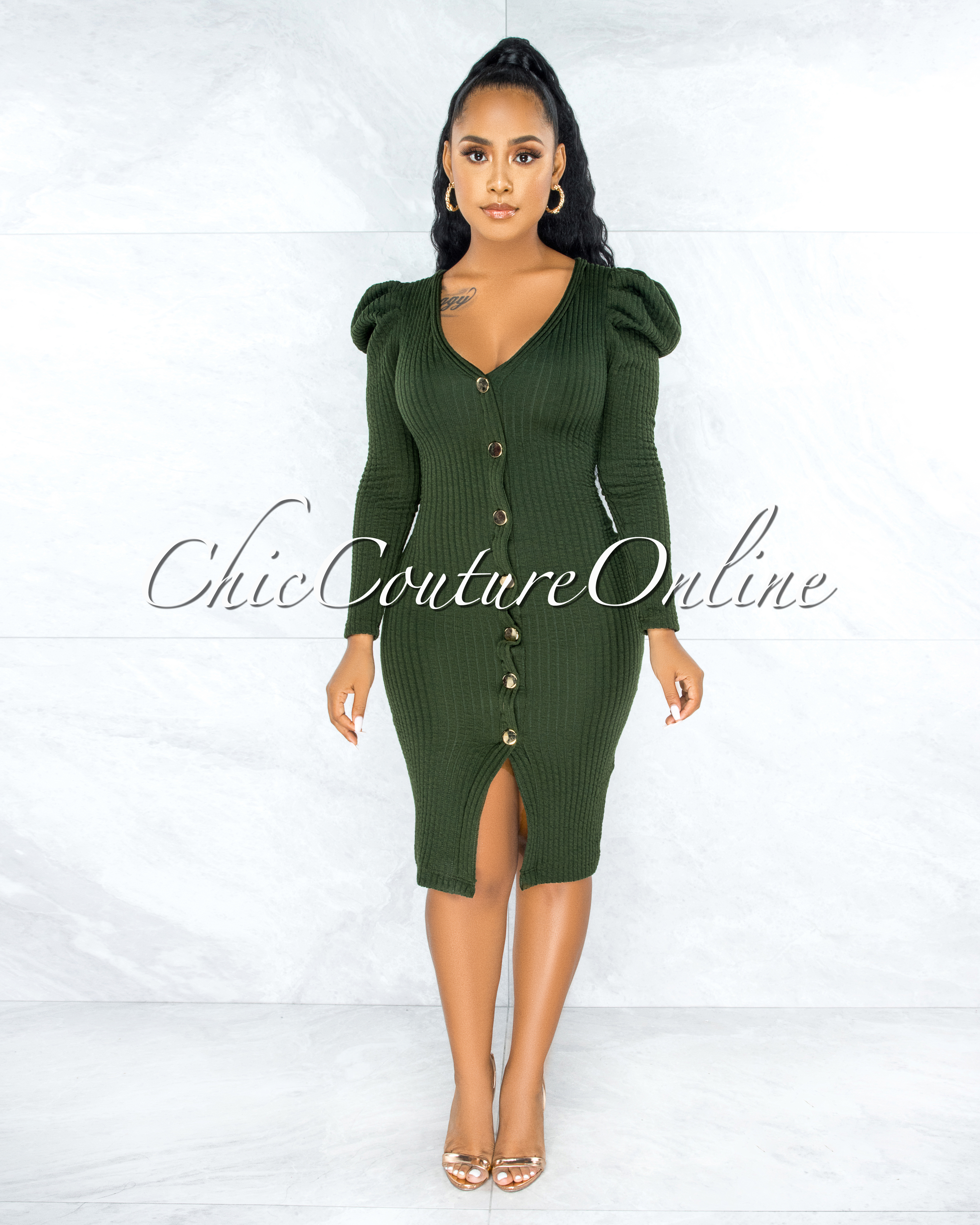 Ludita Olive Green Gold Buttons Bubble Sleeves Ribbed Dress