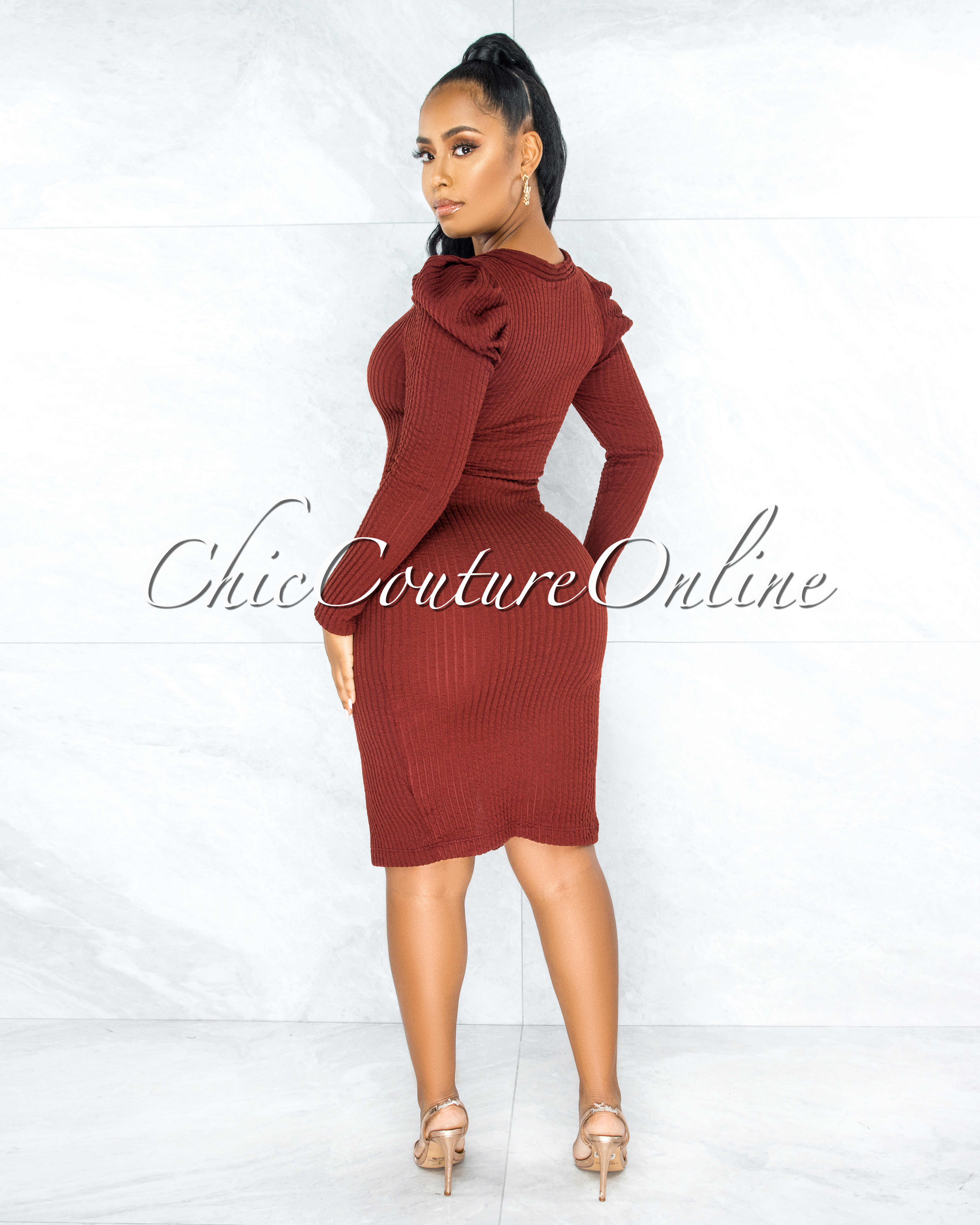 Ludita Brick Gold Buttons Bubble Sleeves Ribbed Dress