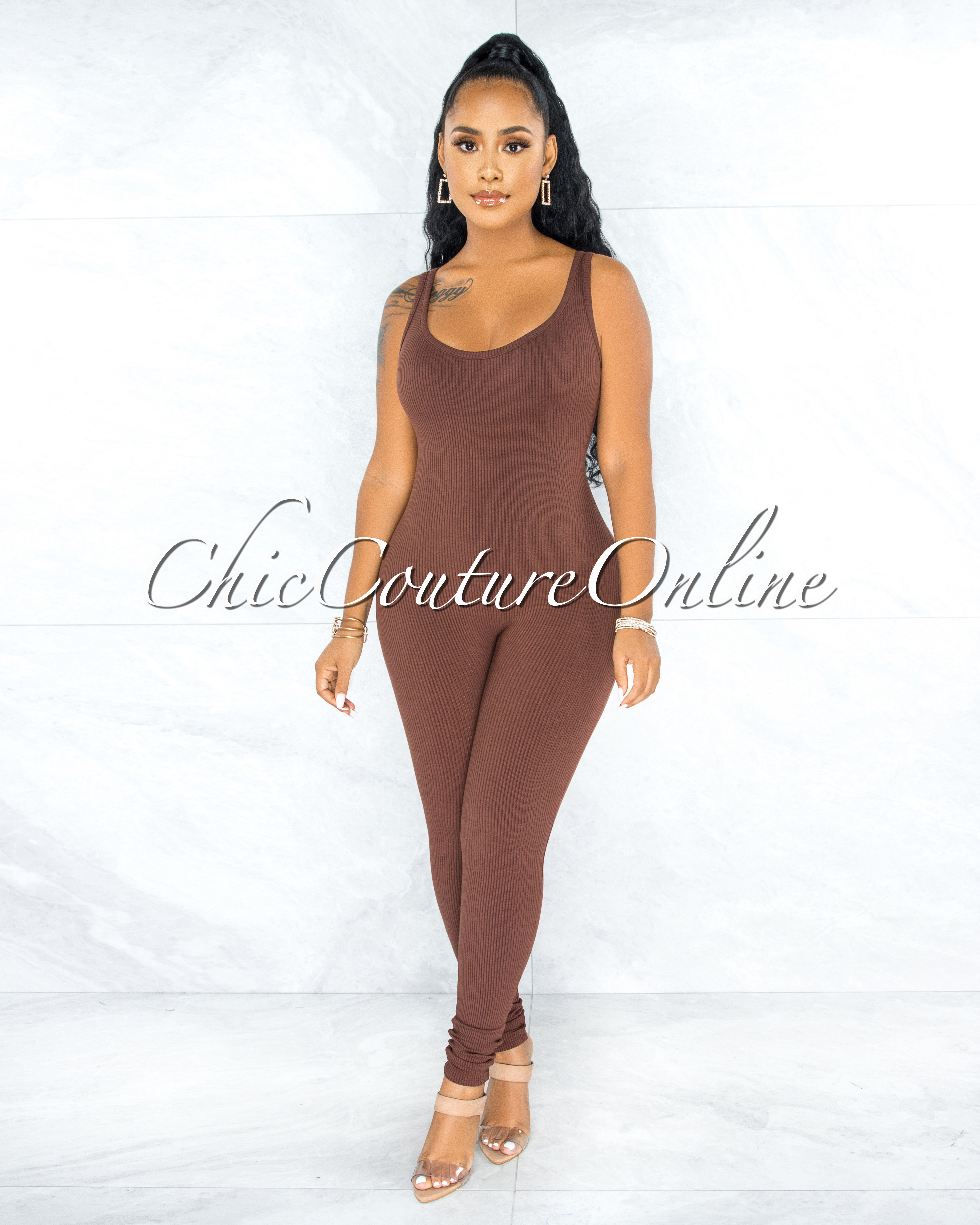 Unity Brown Body-Con Ribbed Jumpsuit