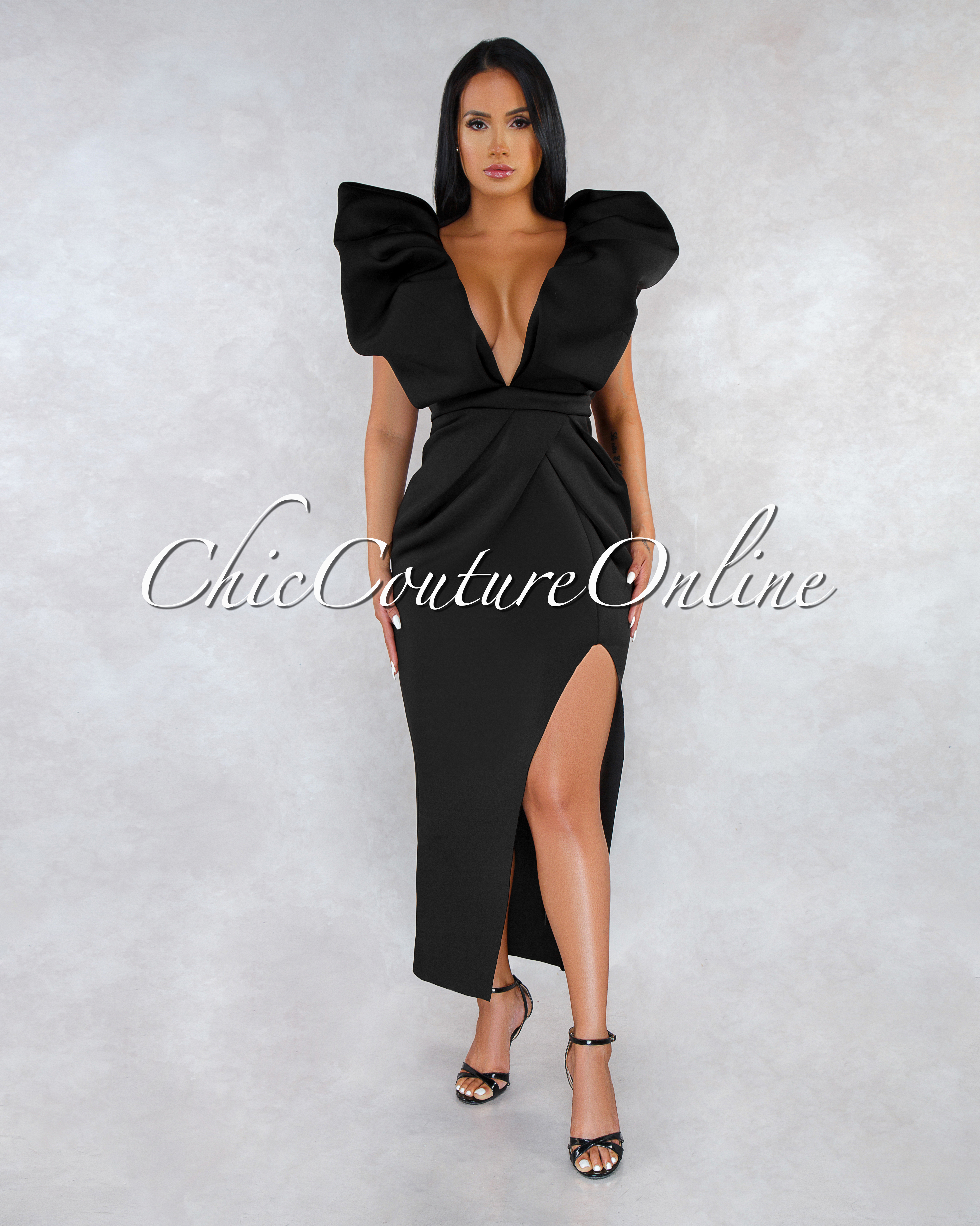 Zayna Black Sleeves Statement Ponti Slit Maxi Dress