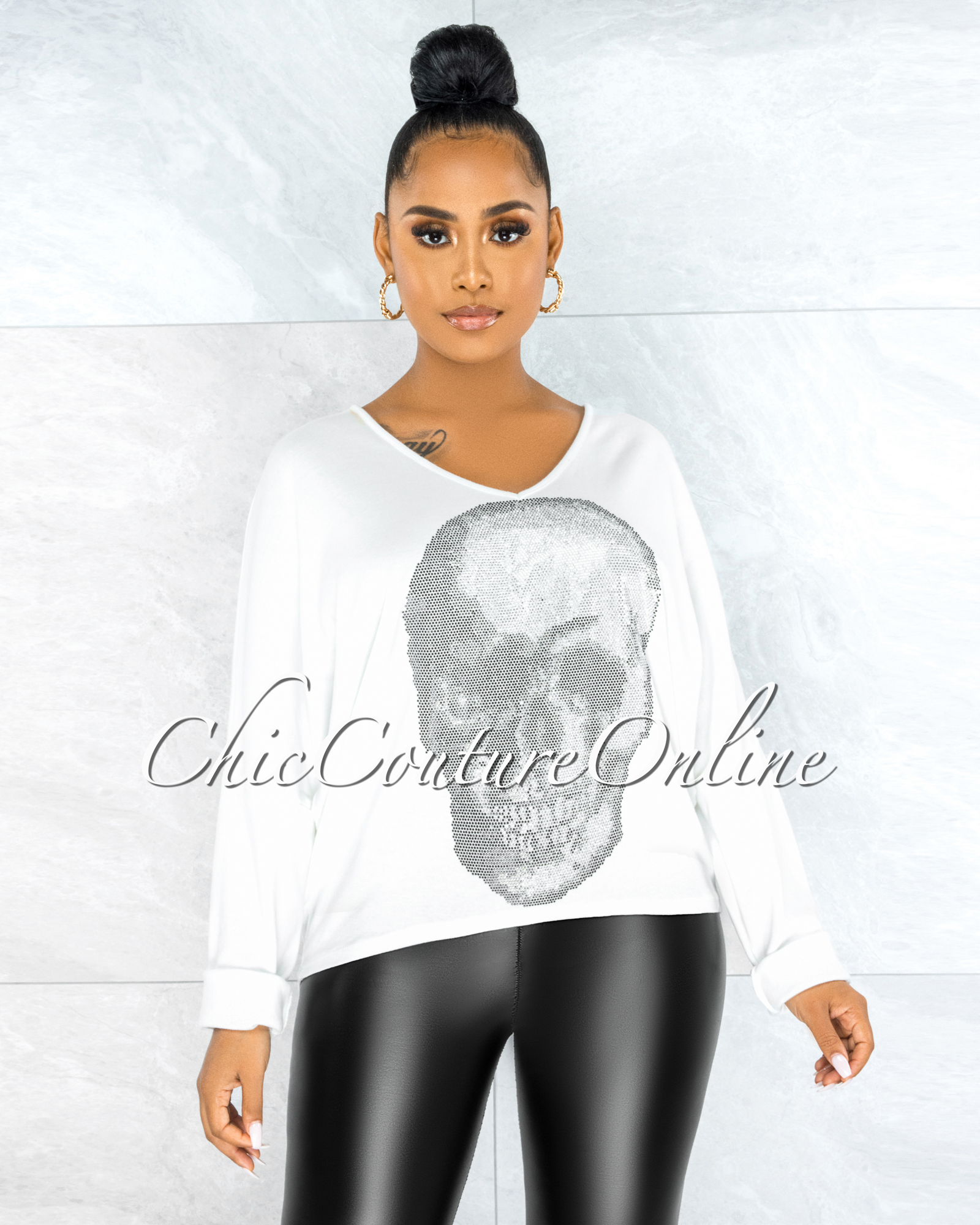Osmel Off-White Front Silver Rhinestones Skull Sweater