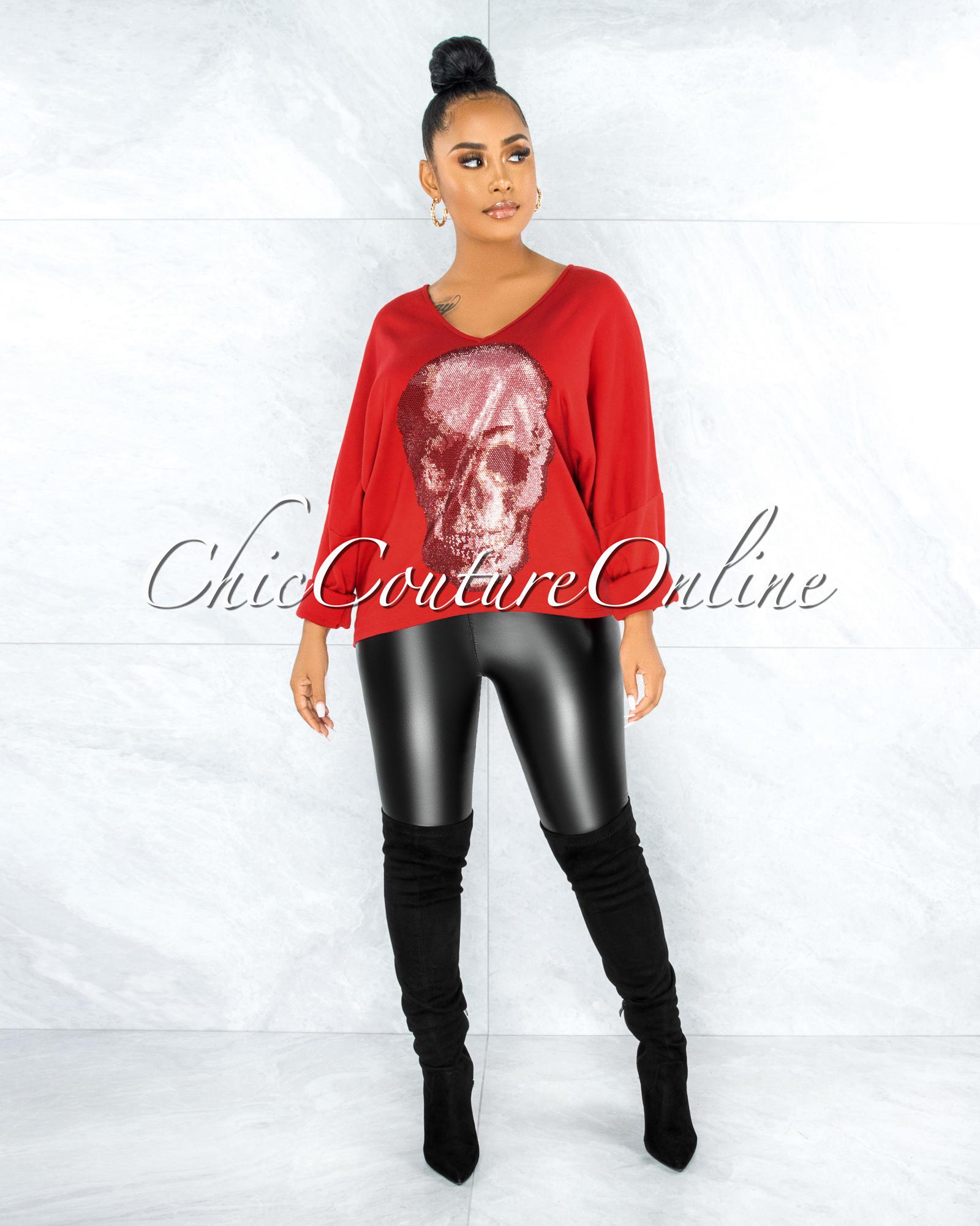 Osmel Red Front Silver Rhinestones Skull Sweater