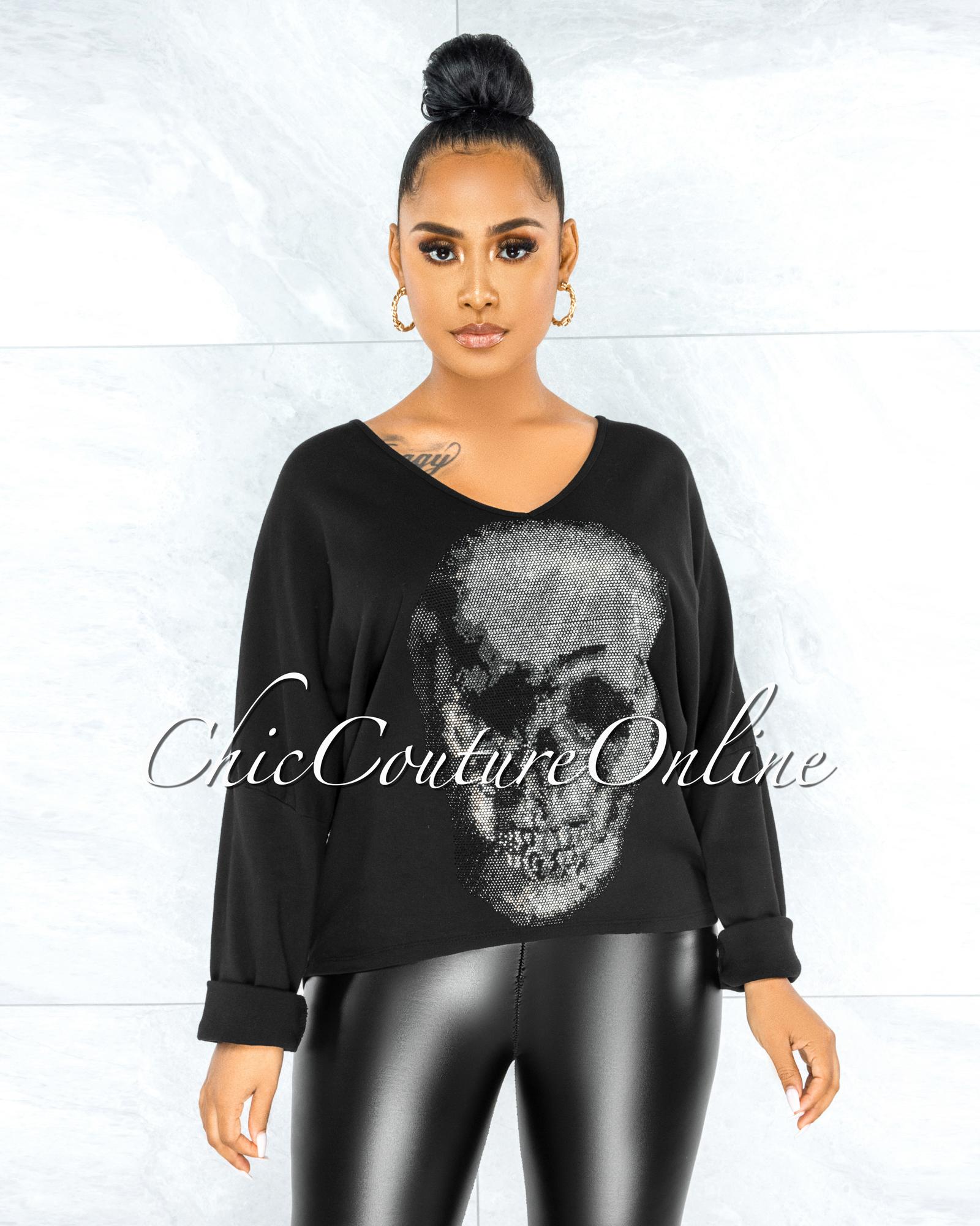 Osmel Black Front Silver Rhinestones Skull Sweater