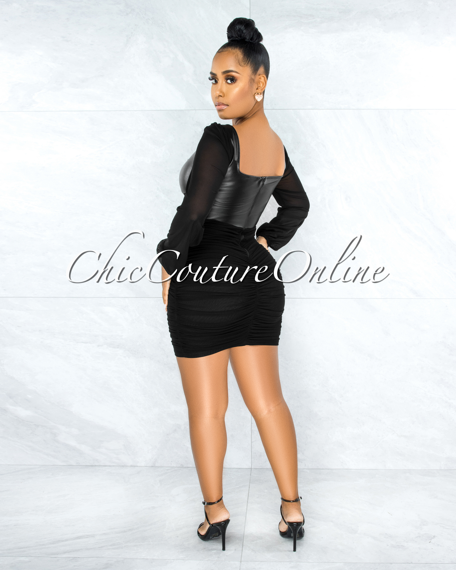 Benigna Black Faux Leather Ruched Mesh Mini Dress