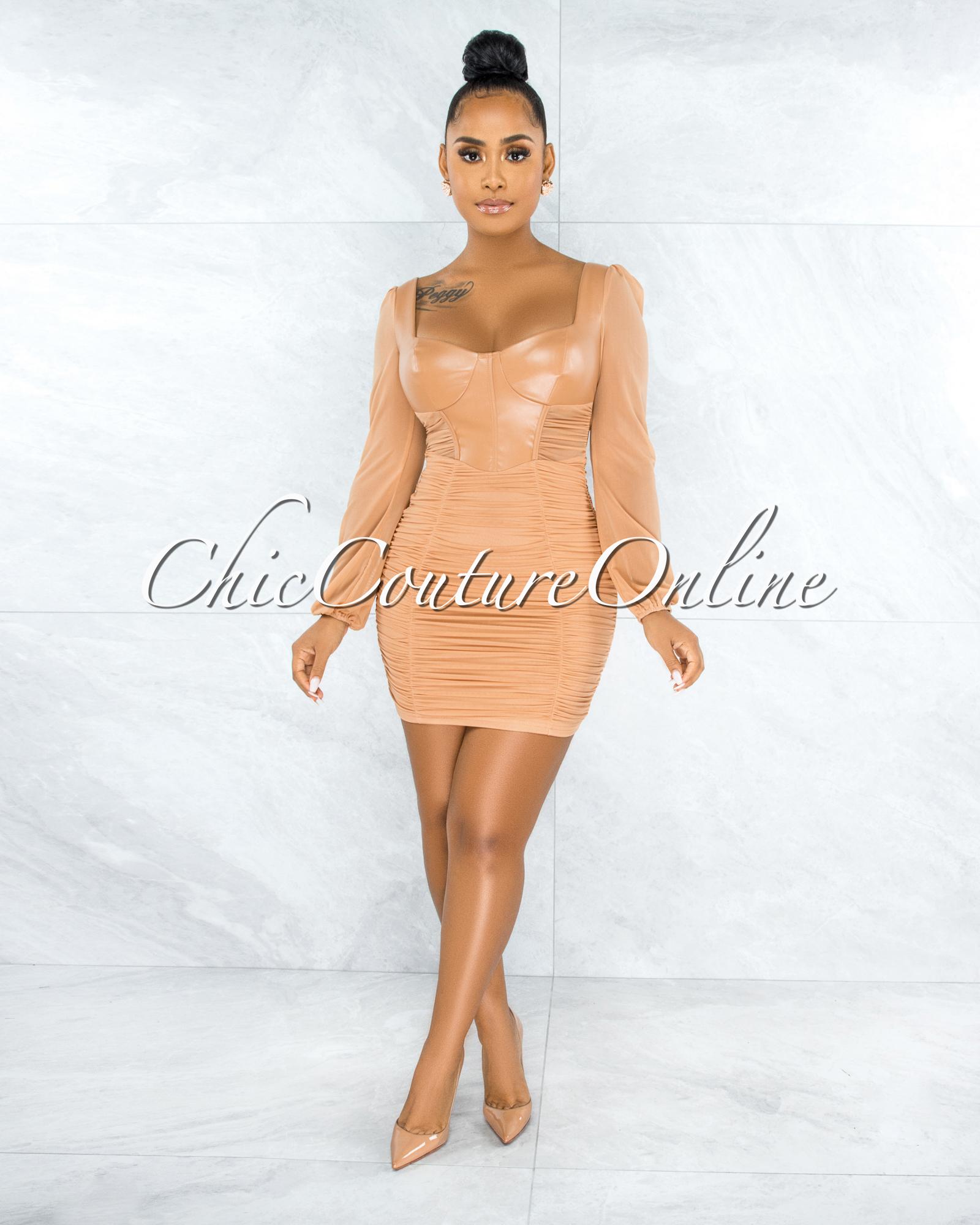 Benigna Nude Faux Leather Ruched Mesh Mini Dress