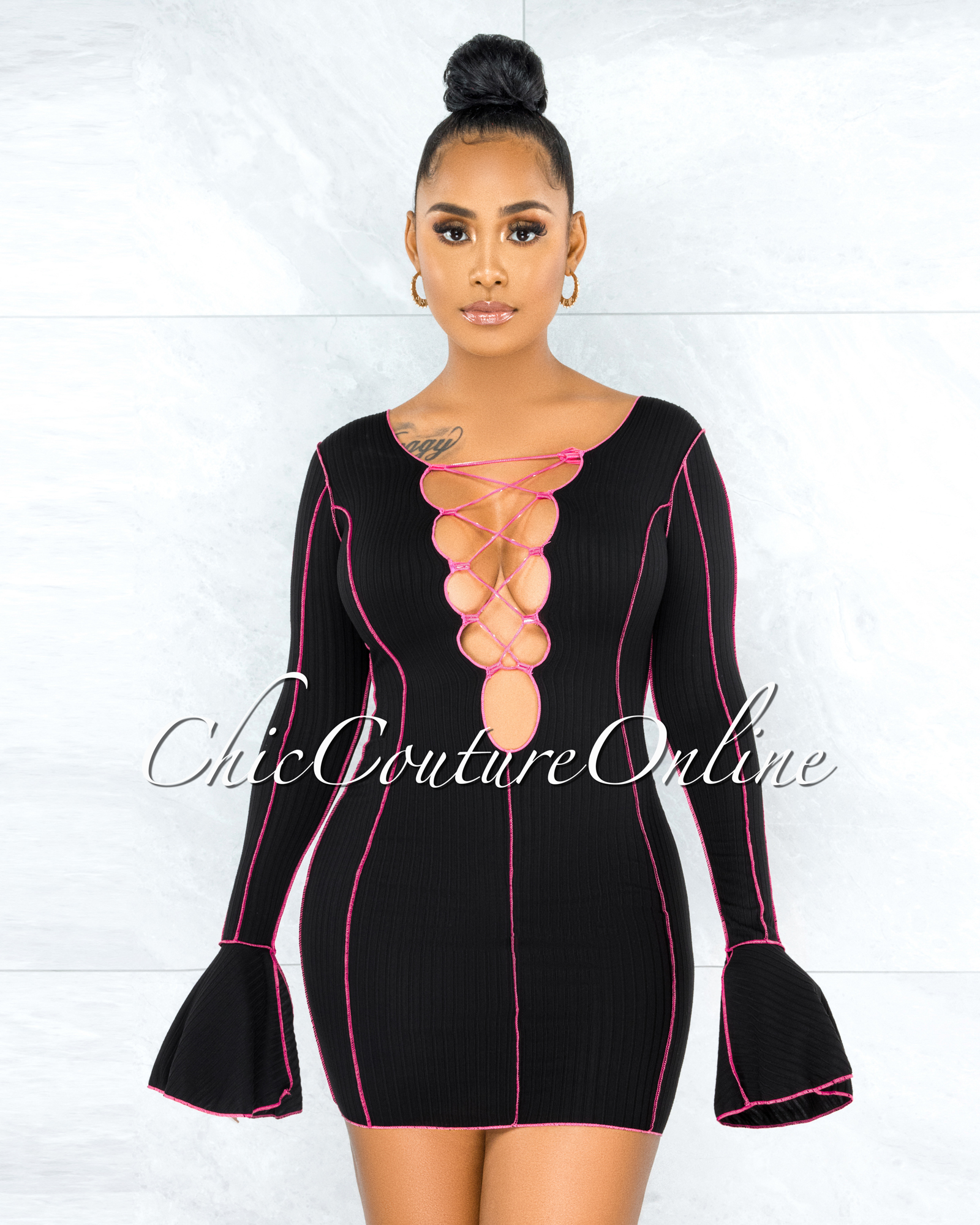 Cafell Black Fuchsia Seam Trim Front Lace-Up Ribbed Dress