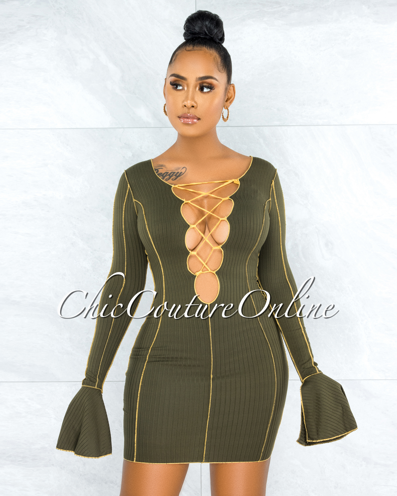 Cafell Olive Green Yellow Seam Trim Front Lace-Up Ribbed Dress