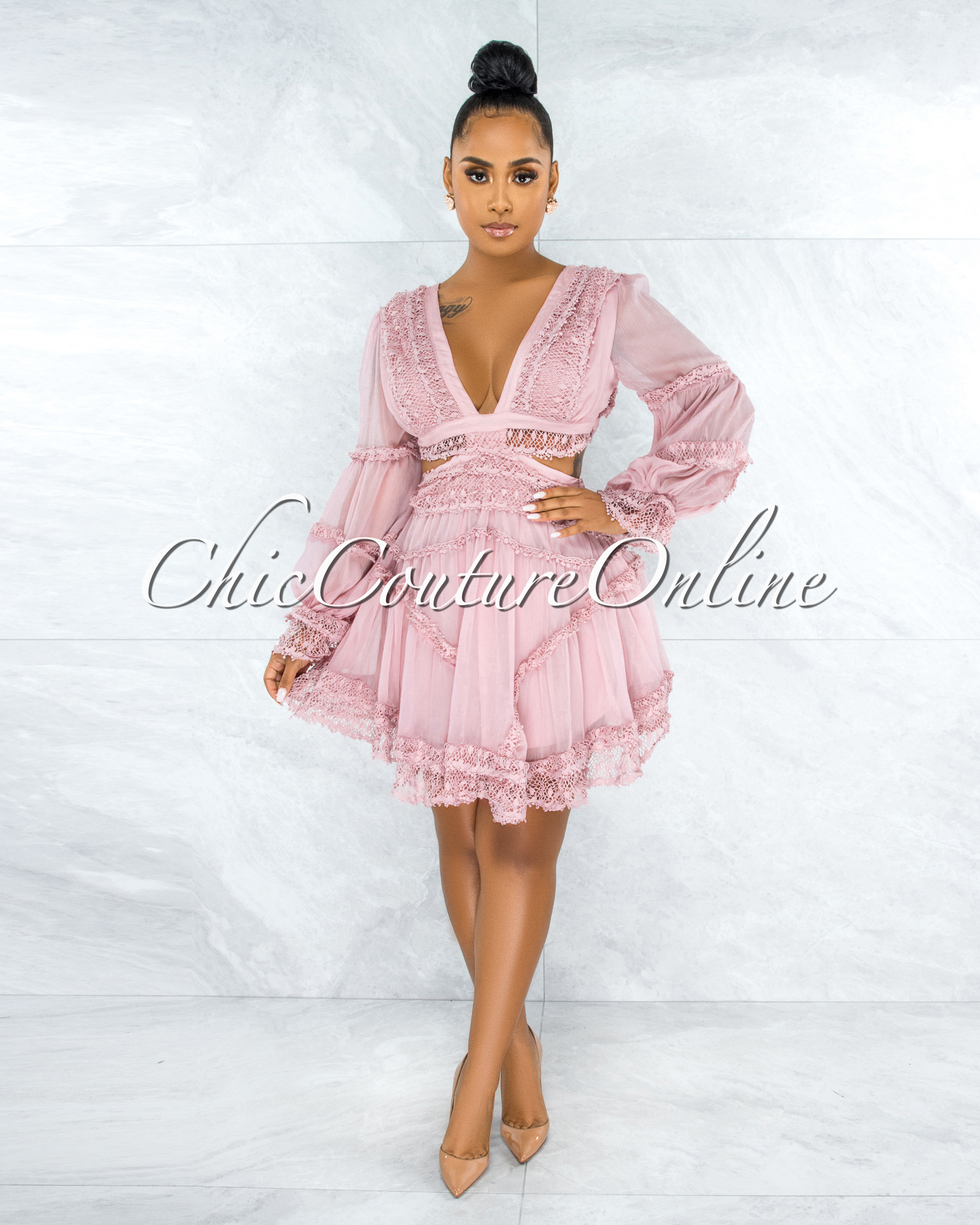 Lanza Dusty Pink Crochet Sheer Overlay Cut-Out Lace-Up Dress