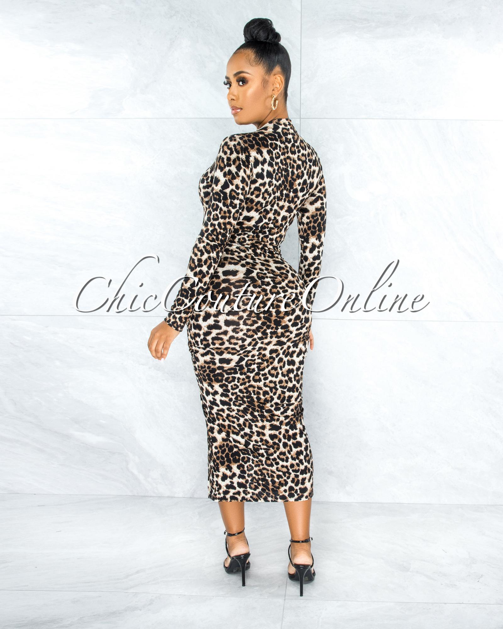 Maisara Leopard Print Ruched Side Slit Midi Dress