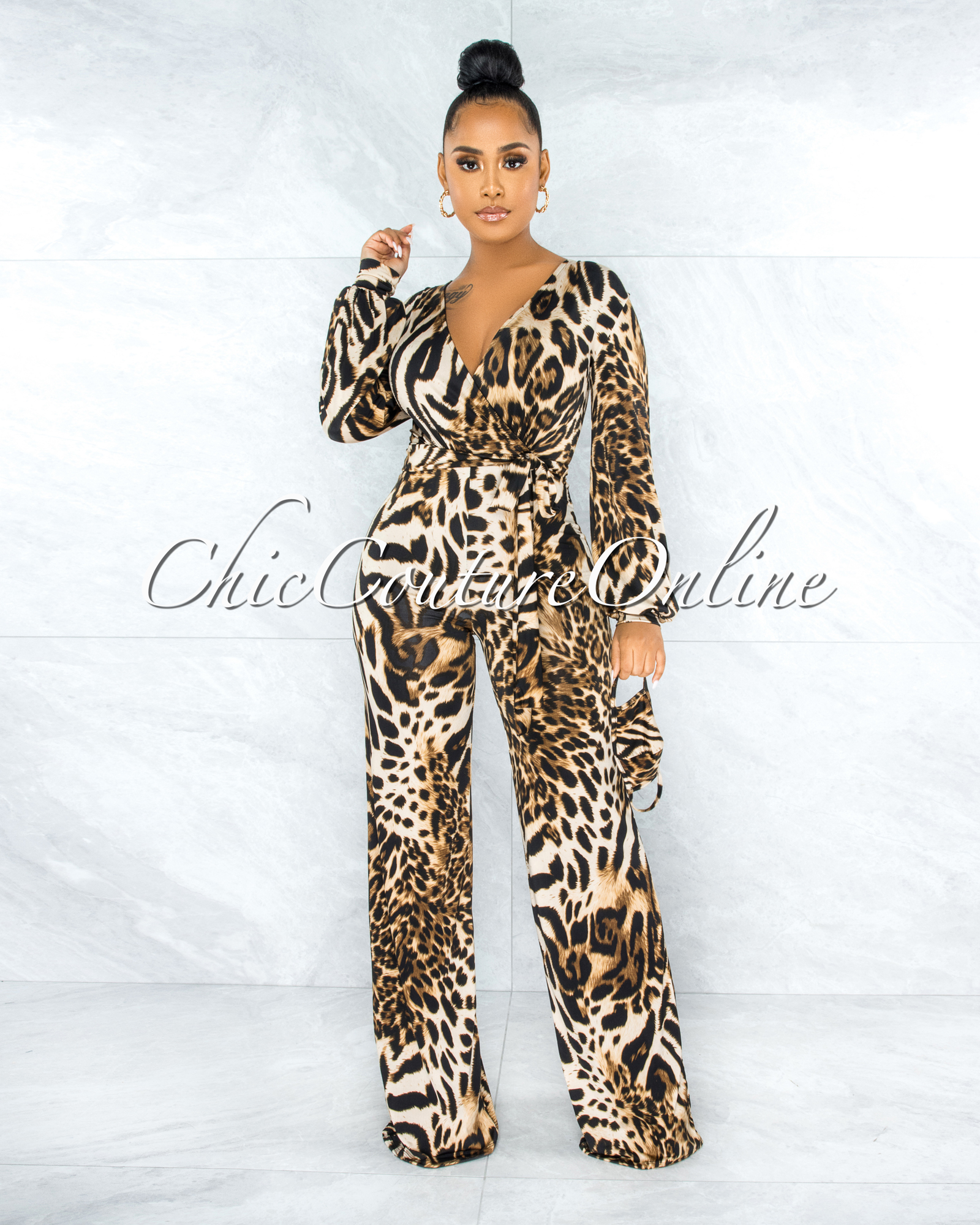 DeMario Leopard Print  Self-Tie Belt Jumpsuit w Mask