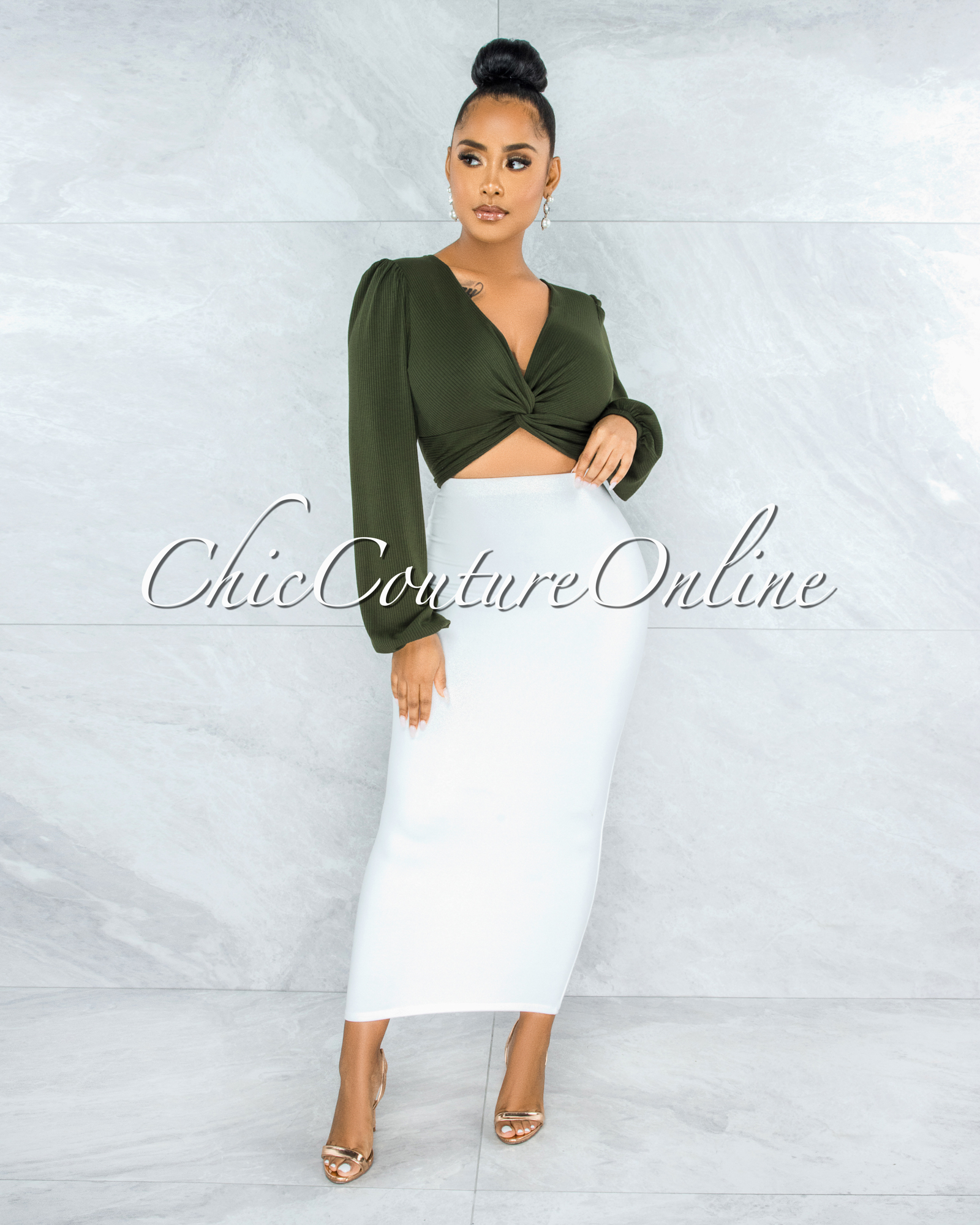 Miette Olive Green Ribbed Front Knot Crop Top