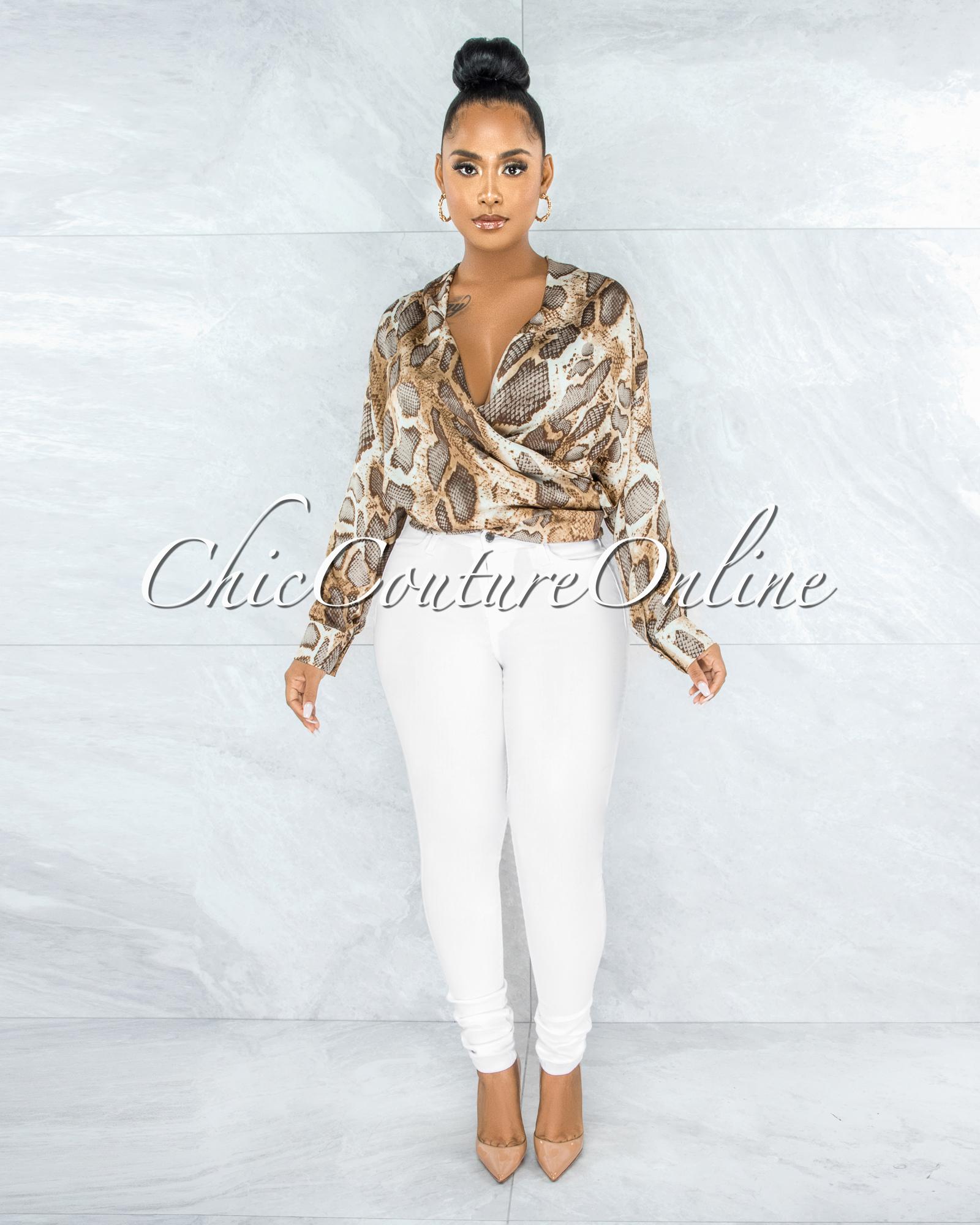 Ceara Brown Snake Print Wrap Blouse