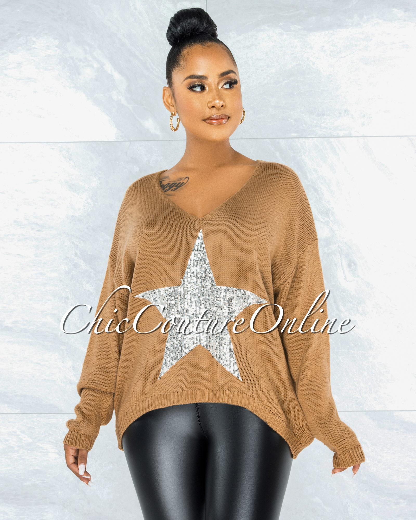 Narda Brown Front Silver Sequins Star Knit Sweater