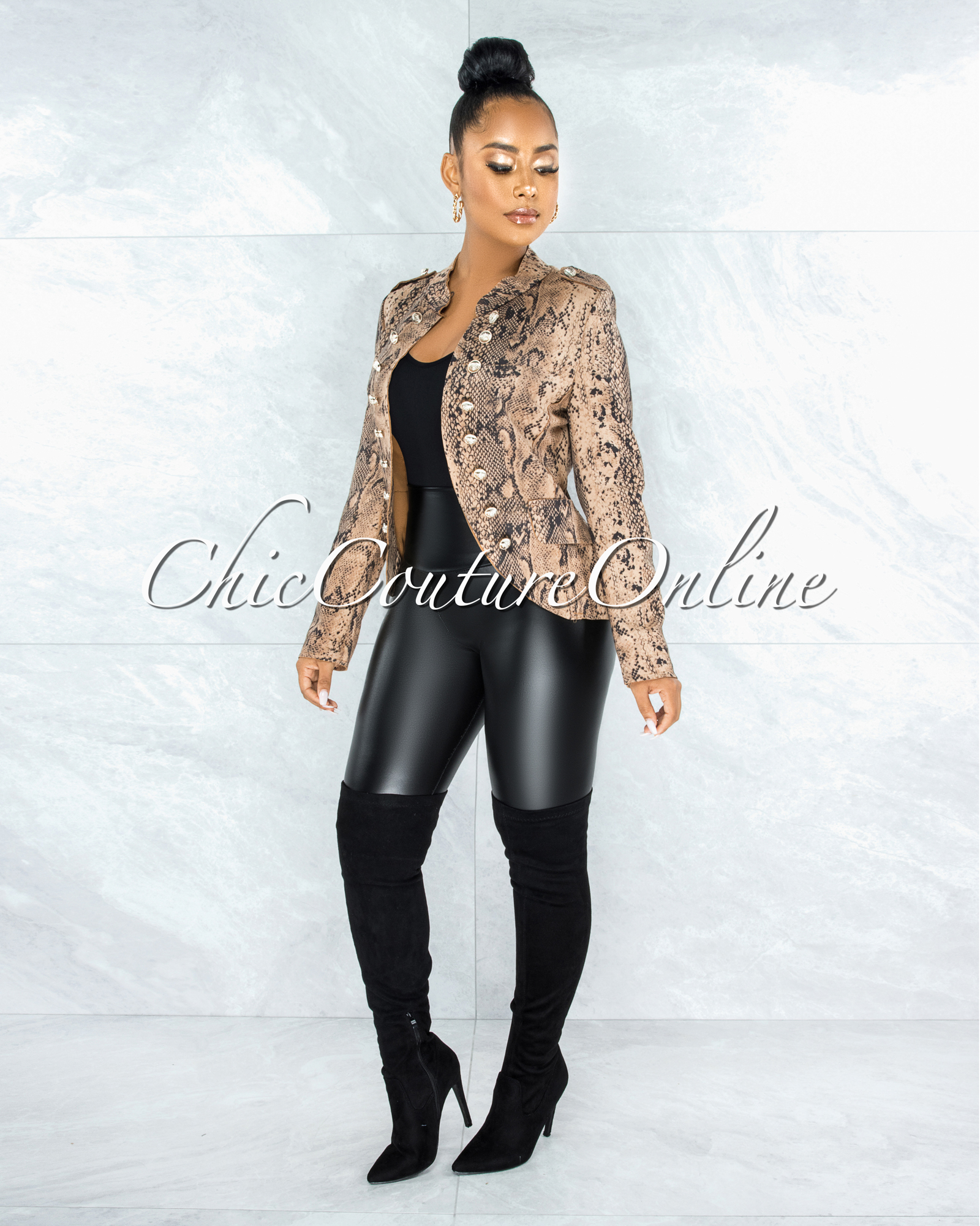 Vafara Brown Snake Print Faux Suede CURVACEOUS Jacket