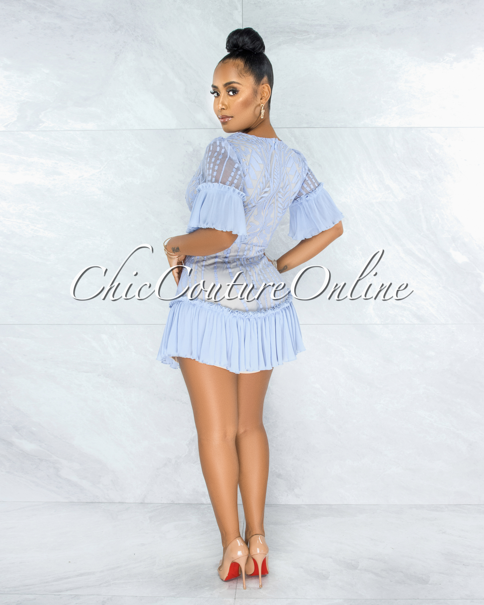 Nuka Baby Blue Nude Illusion Lace Pleated Luxe Dress