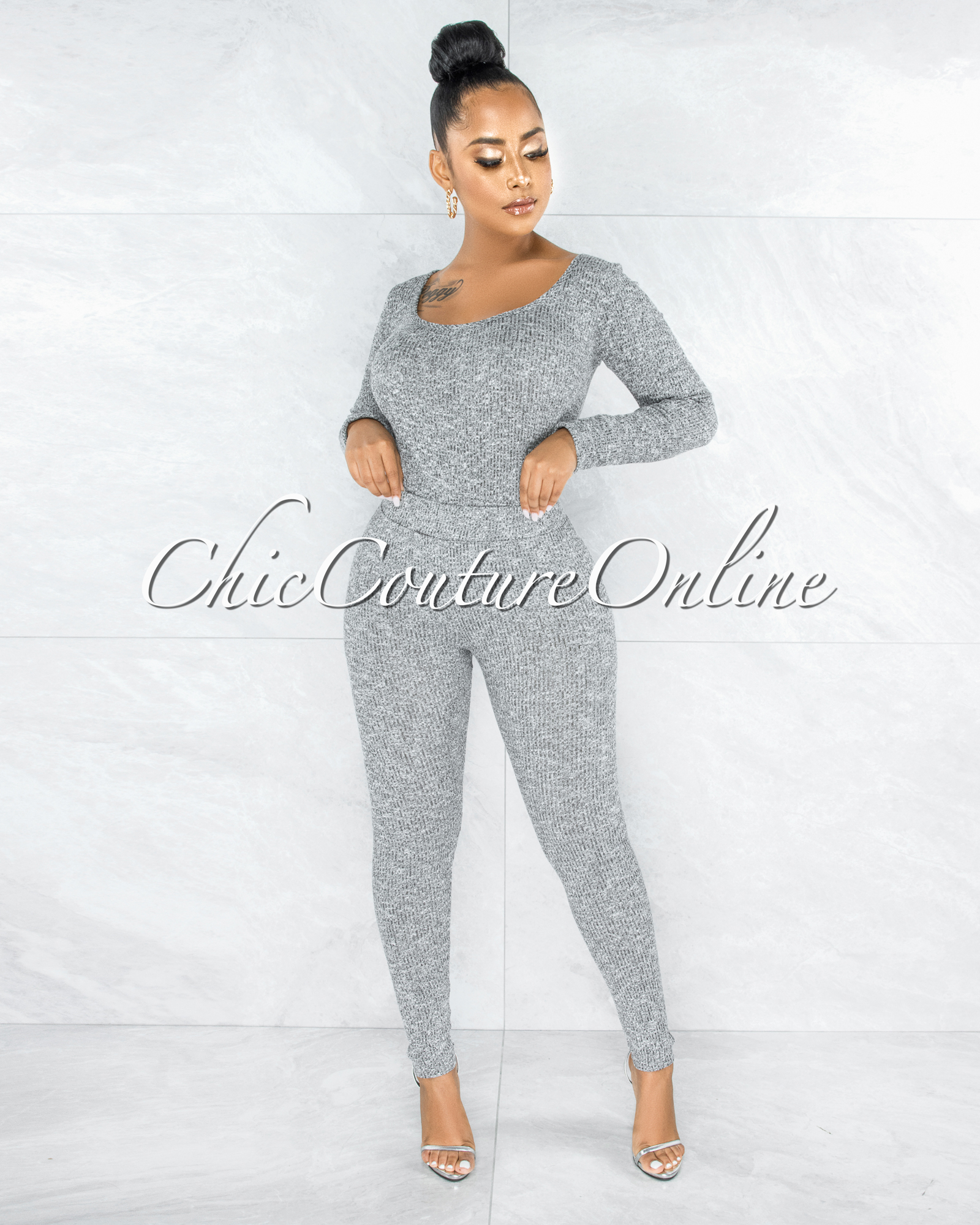 Tanvi Grey Bodysuit & Leggings Knit Set