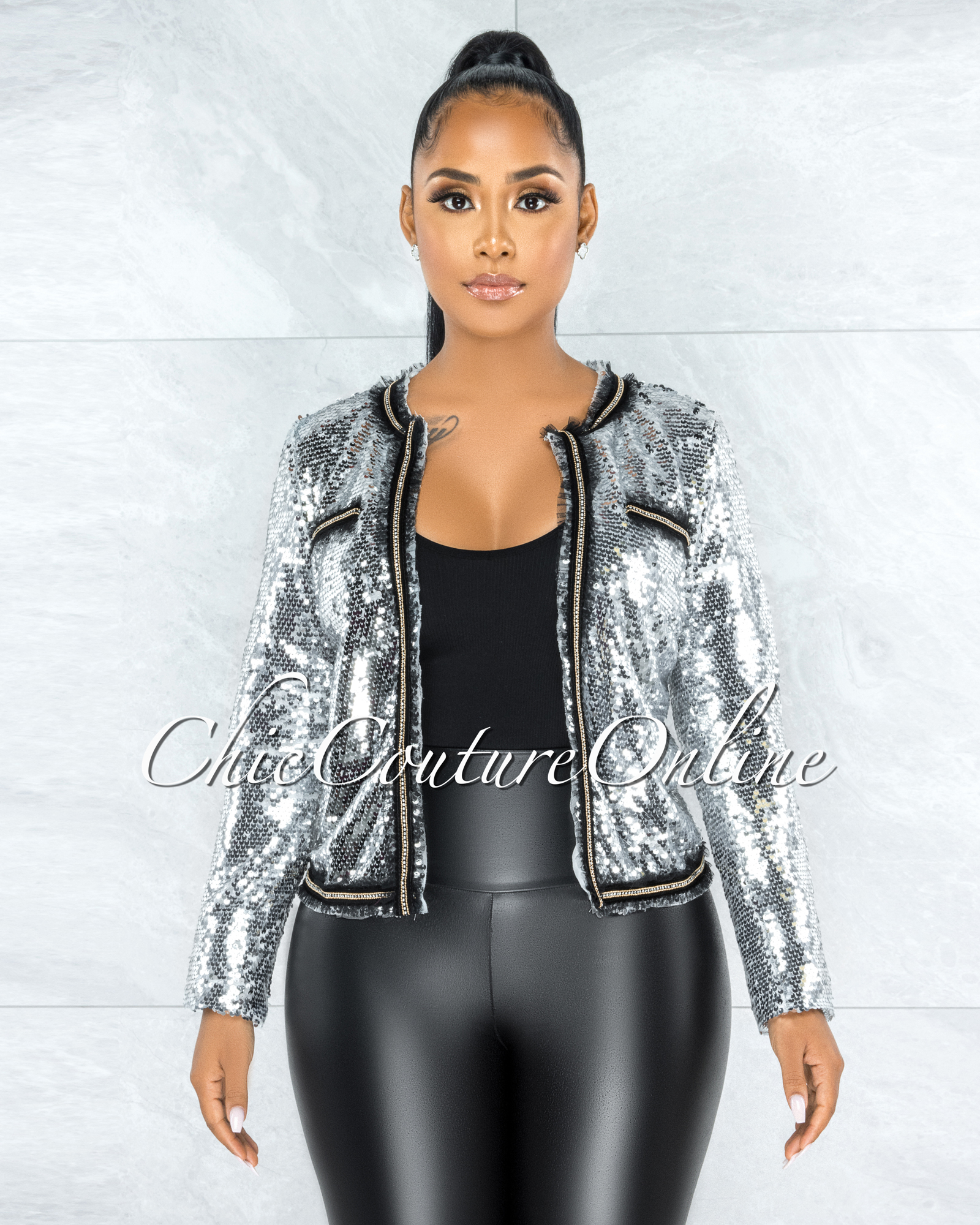 Avania Silver Black Tulle Rhinestones Details Jacket