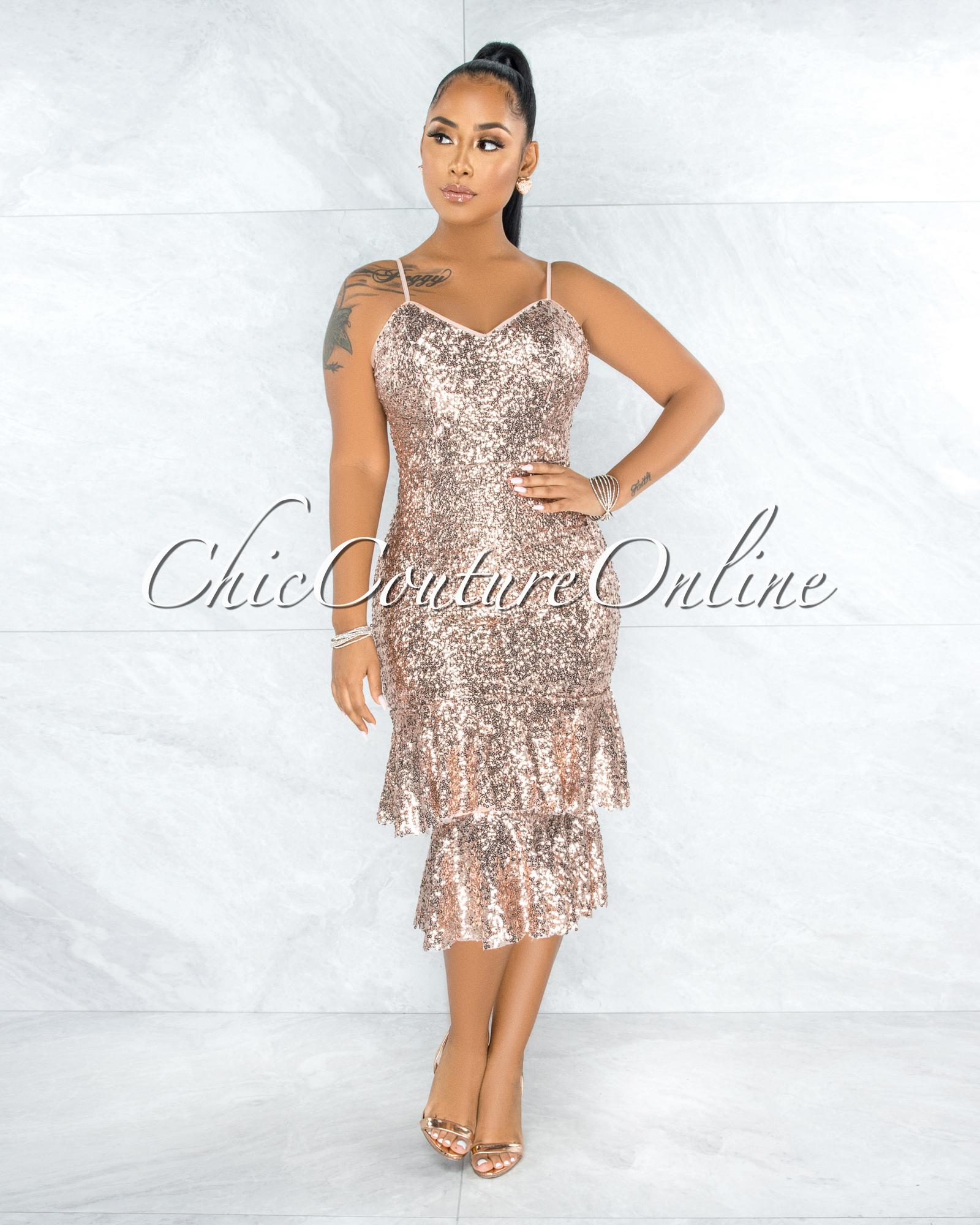 Izabelli Rose Gold Sequins Double Ruffle Hem Midi Dress