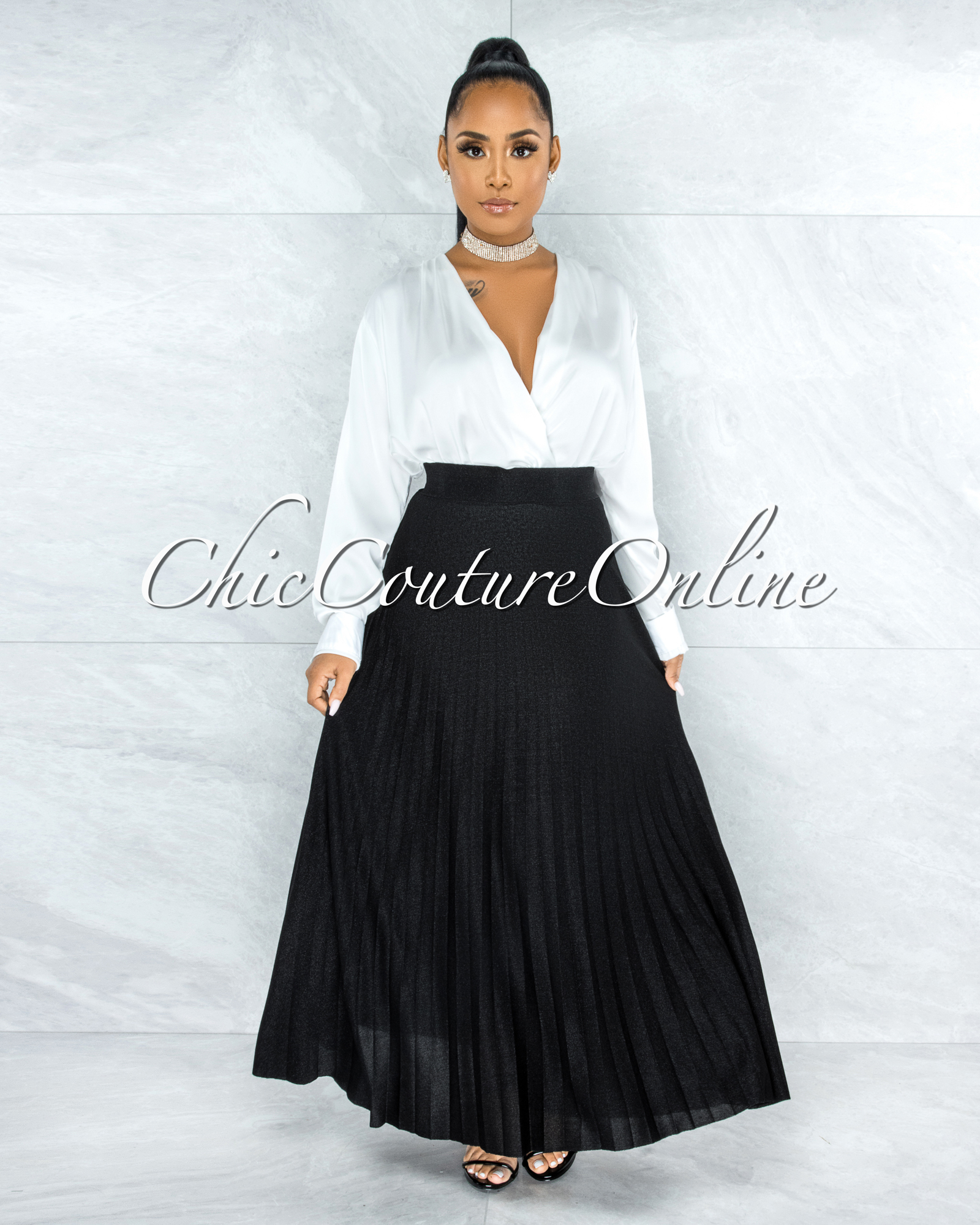 Barilla Black Shimmer Pleated Maxi Skirt