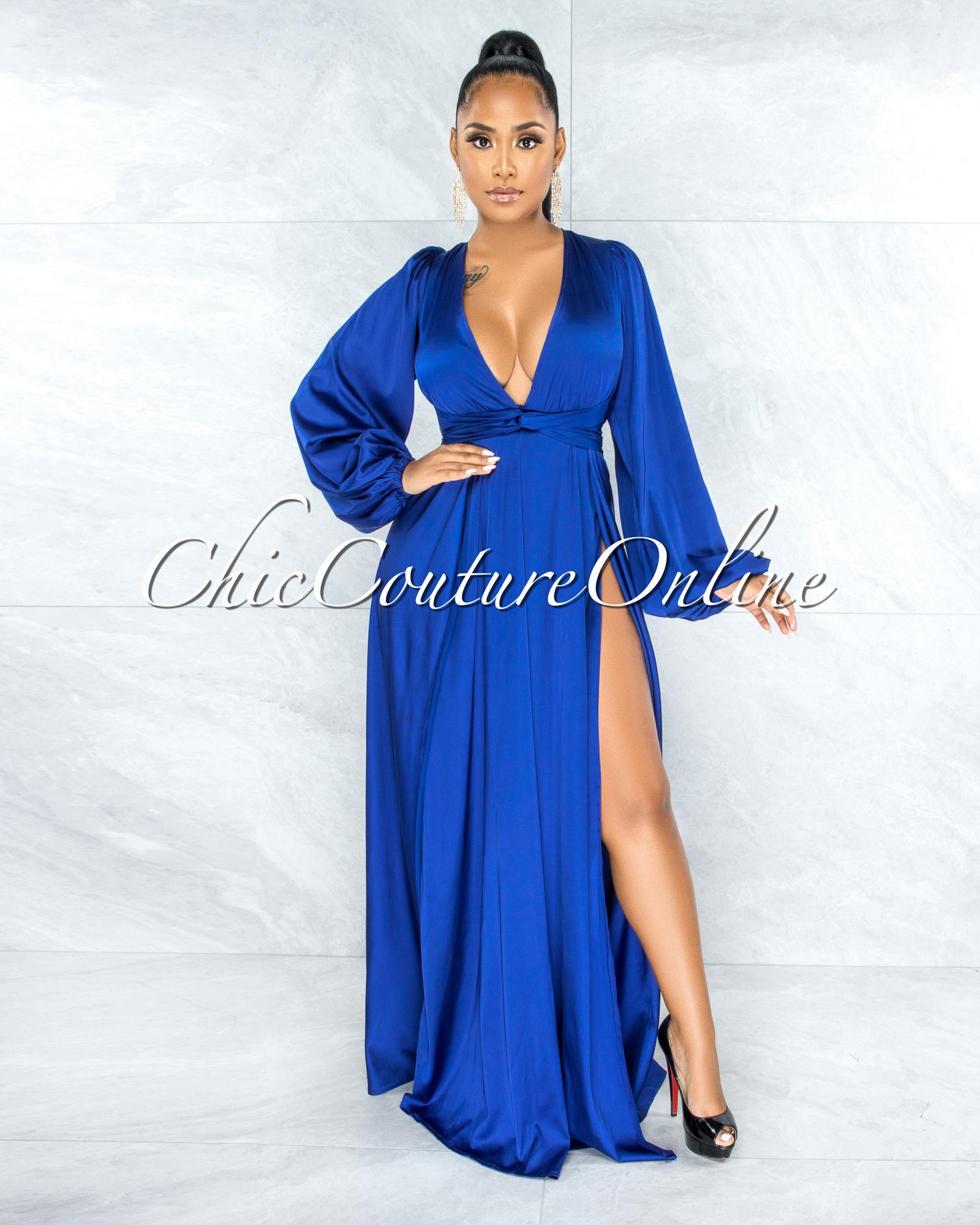 Dorion Royal Blue Dramatic Double Slit Silky Maxi Dress