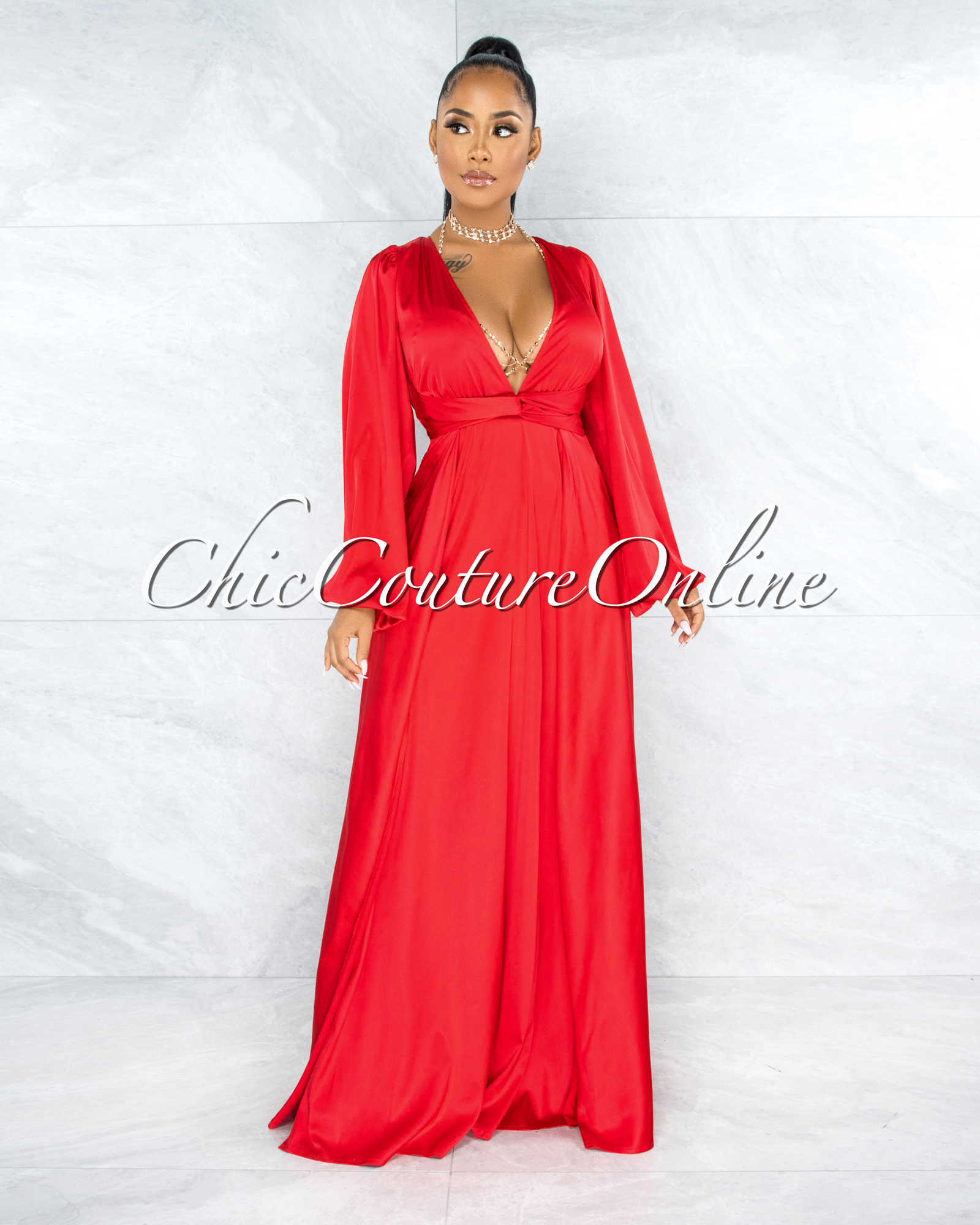 Dorion Red Dramatic Double Slit Silky Maxi Dress