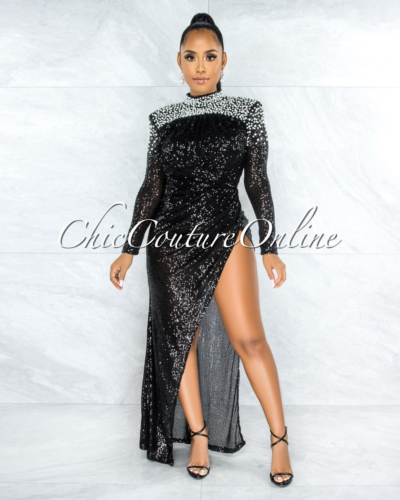 Zeljka Black Sequins Pearl Accent Draped Bodysuit Dress