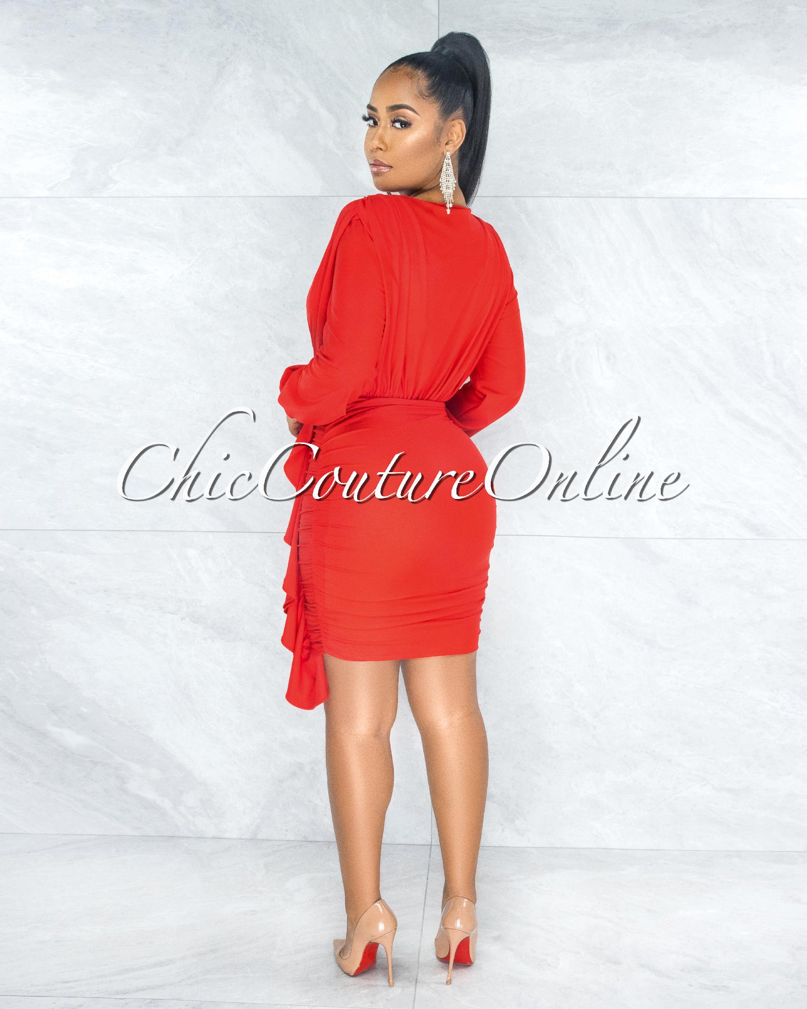 Jaddua Red Plunging V-Neck Draped Ruffle Dress