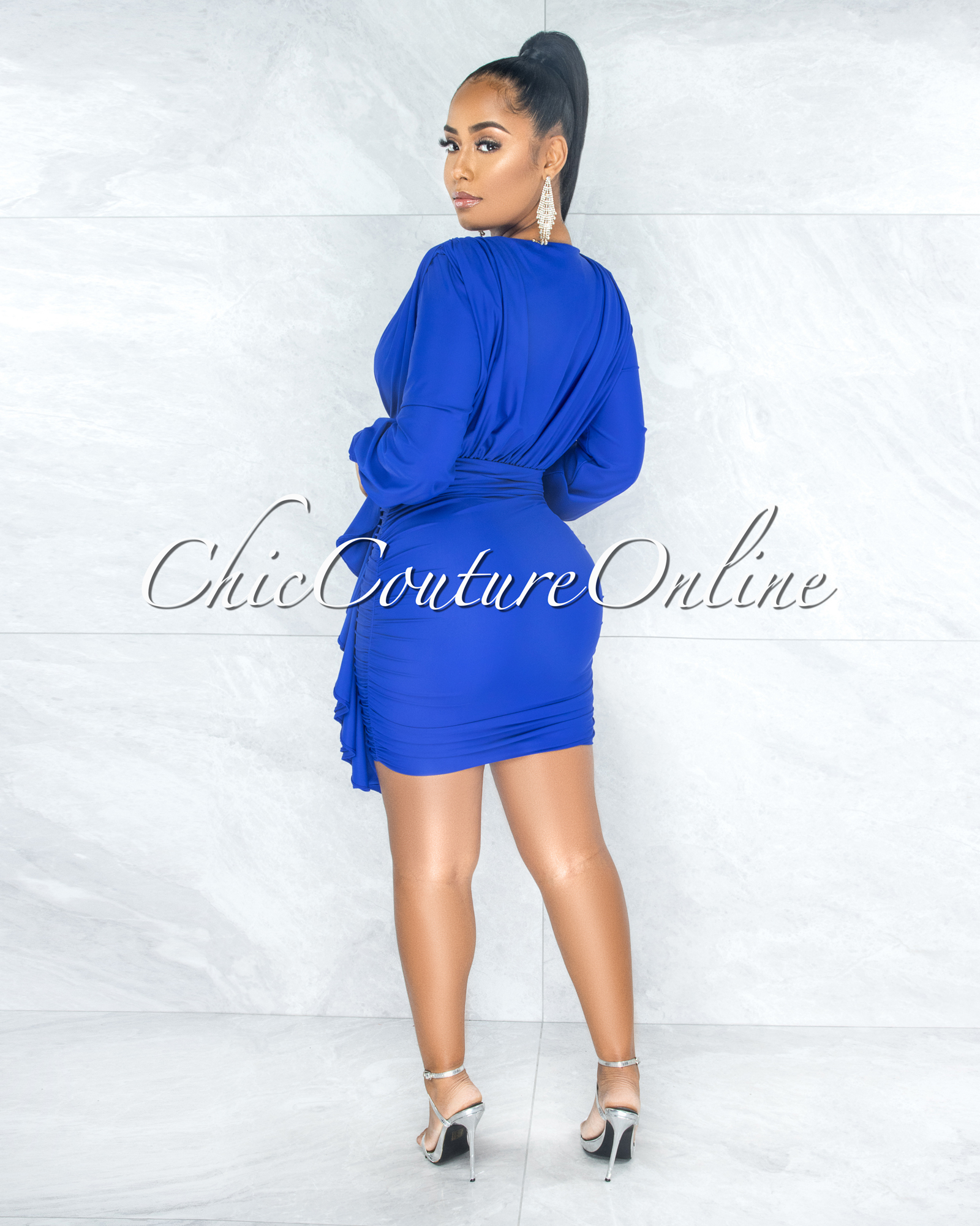 Jaddua Royal Blue Plunging V-Neck Draped Ruffle Dress