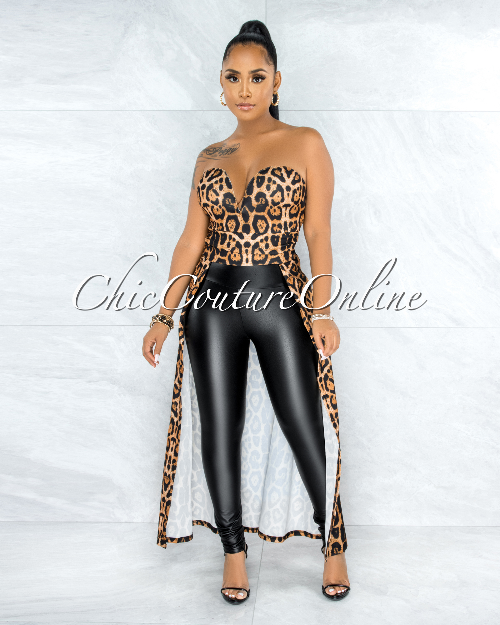 Kevina Leopard Print Dramatic High-Low Strapless Top