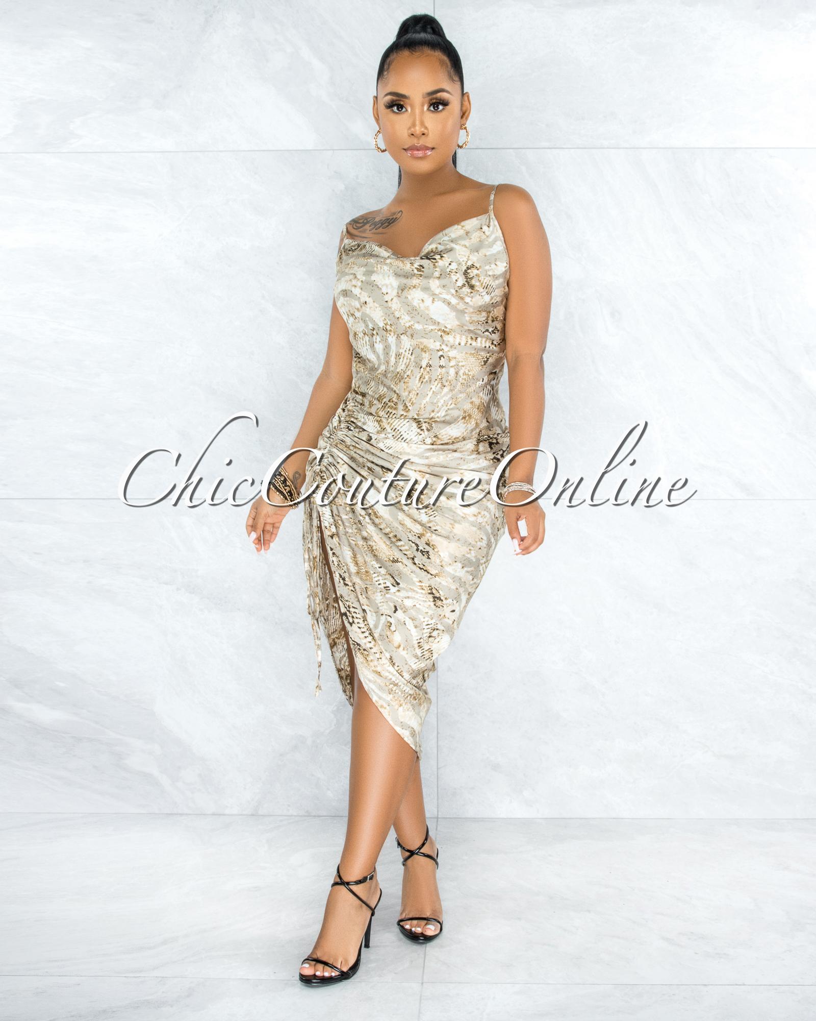 Yepa Nude Snake Print Ruched Side Multi-Way Dress