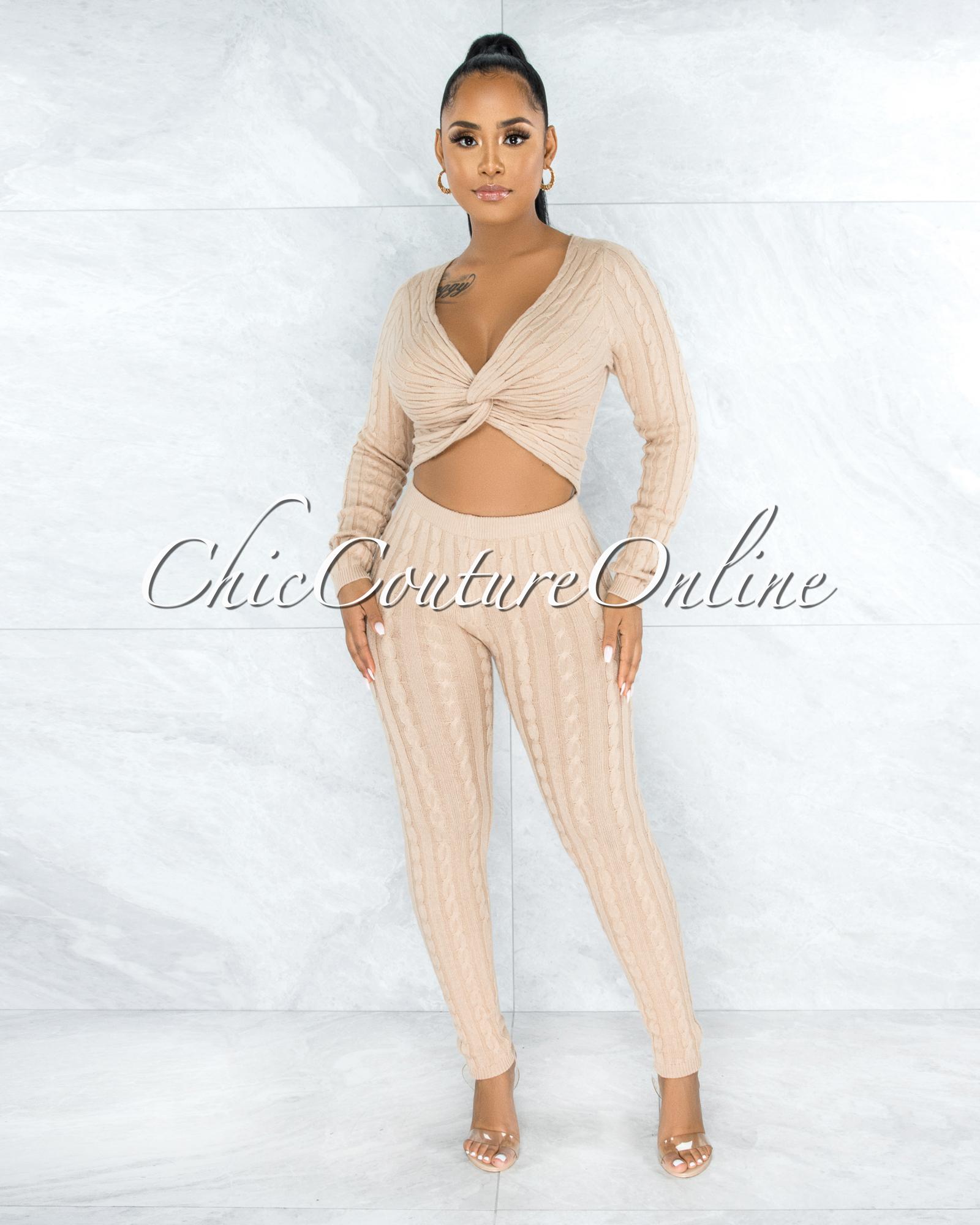 Azuba Nude Cable Knit Knotted Top & Leggings Set