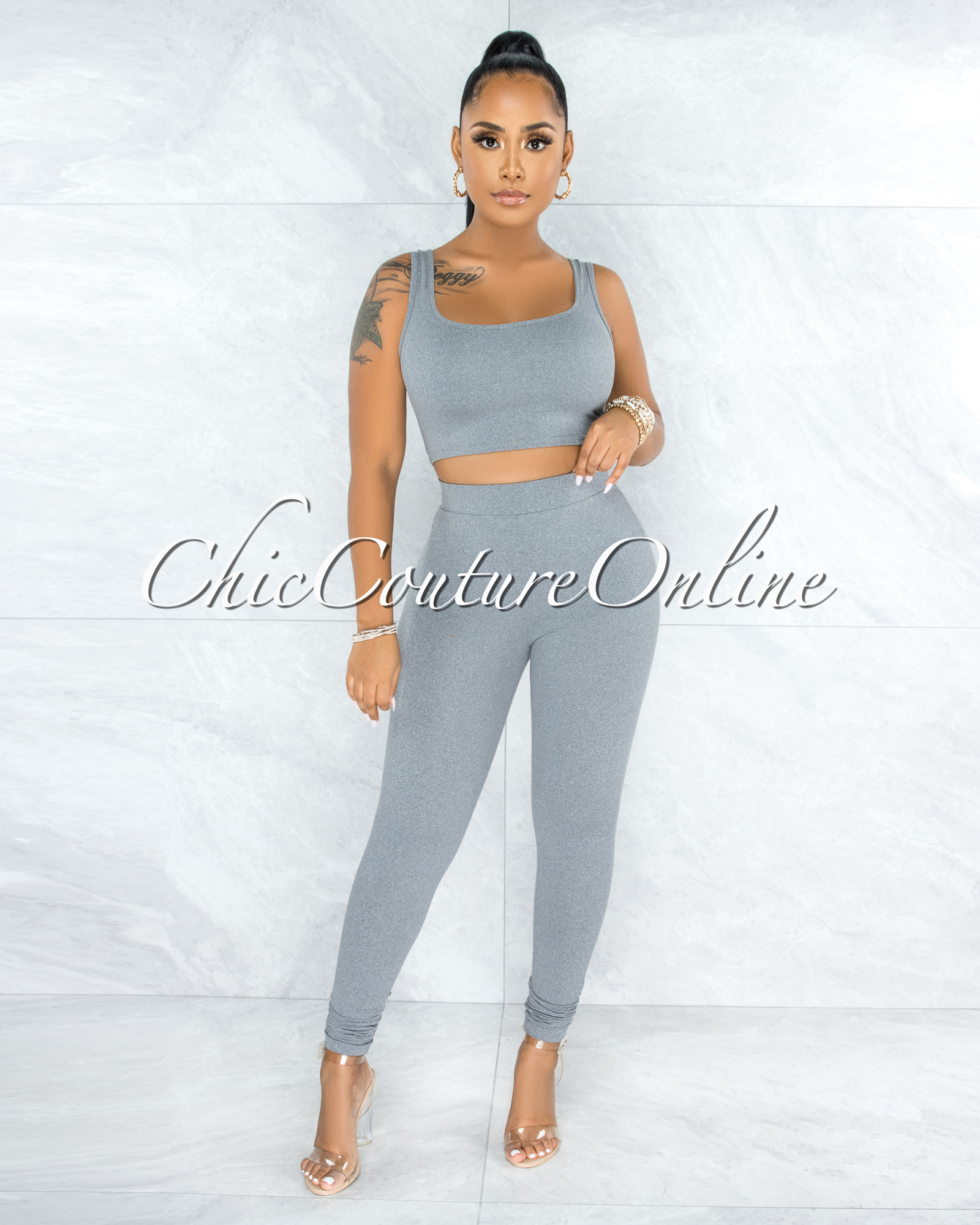 Thirza Grey Knit Sweater  Top & Leggings Three Piece Set
