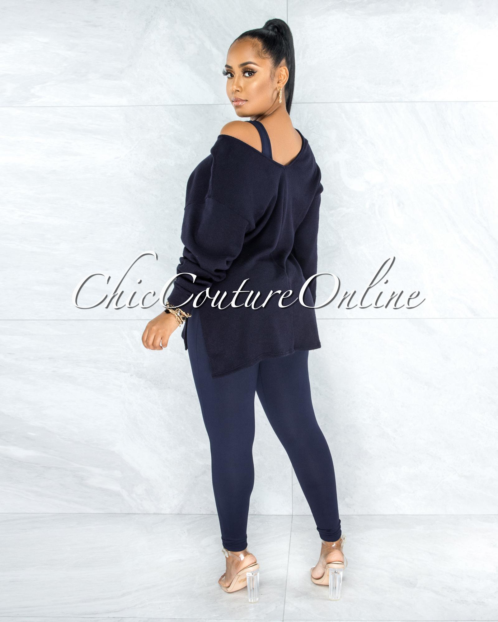 Thirza Navy Blue Knit Sweater Top & Leggings Three Piece Set