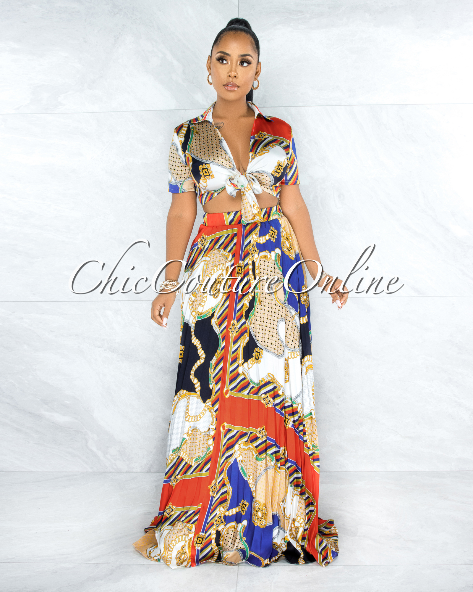 Makin Ivory Multi-Color Print Two Piece Ruffle Skirt Set