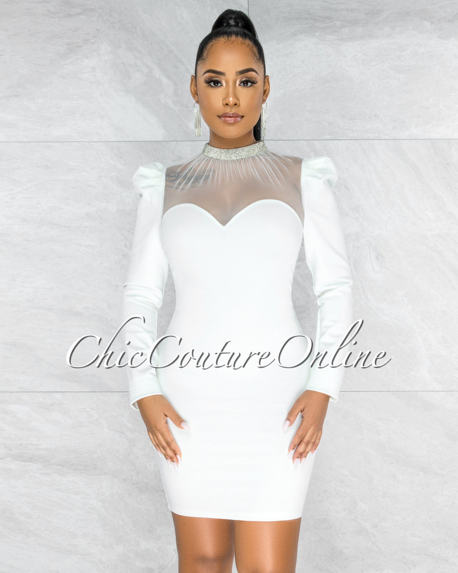 Carmona Off-White Rhinestones Tulle Neckline Dress