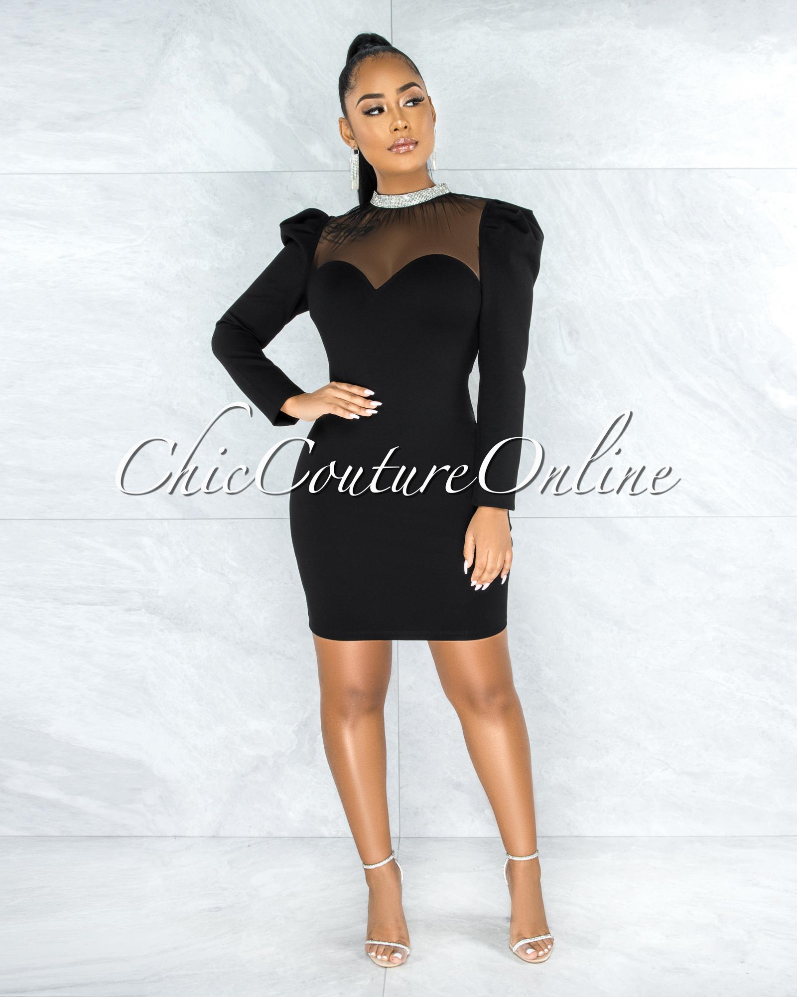 Carmona Black Rhinestones Tulle Neckline Dress
