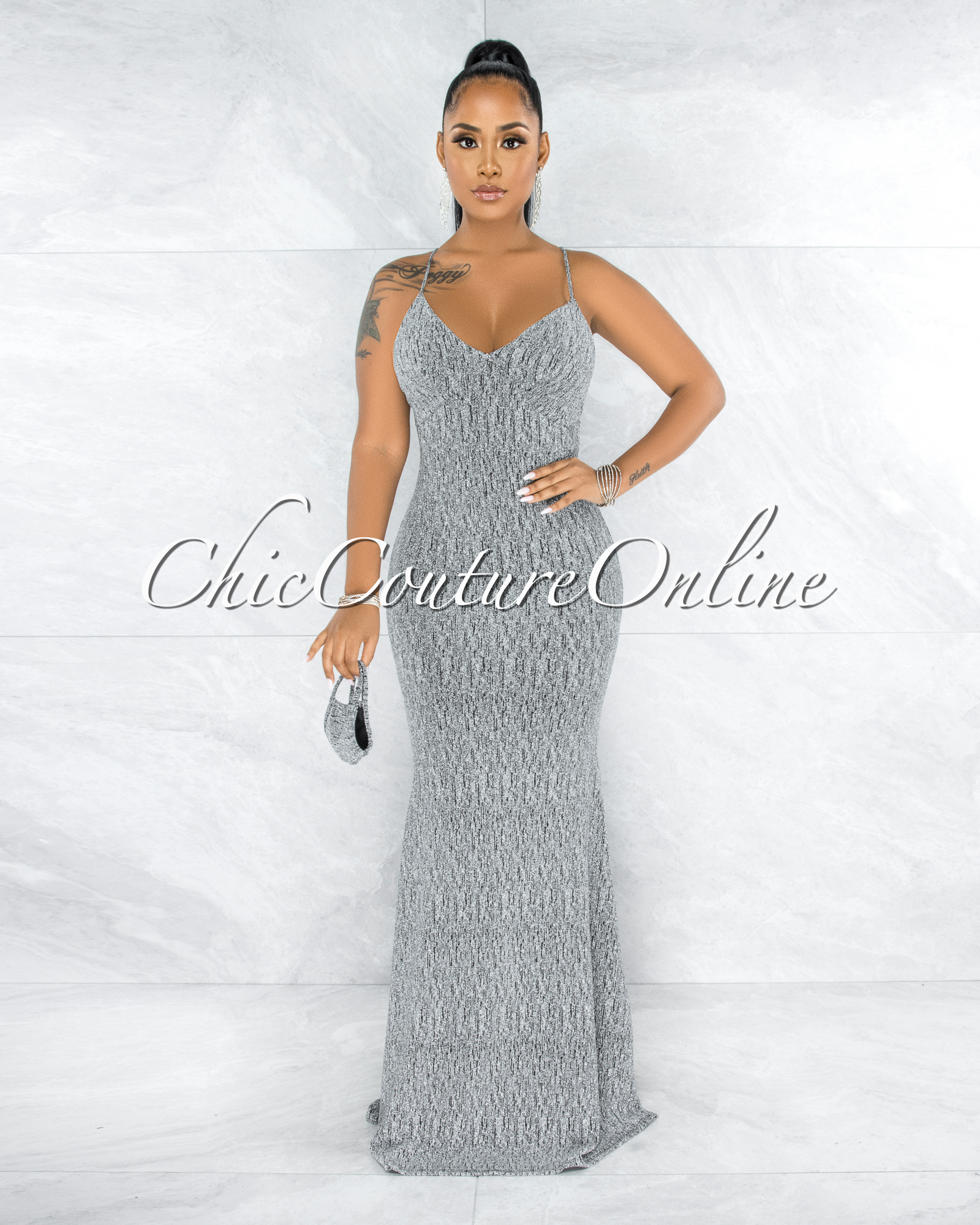 Diamante Silver Shimmer Lace-Up Back Maxi Dress & Mask