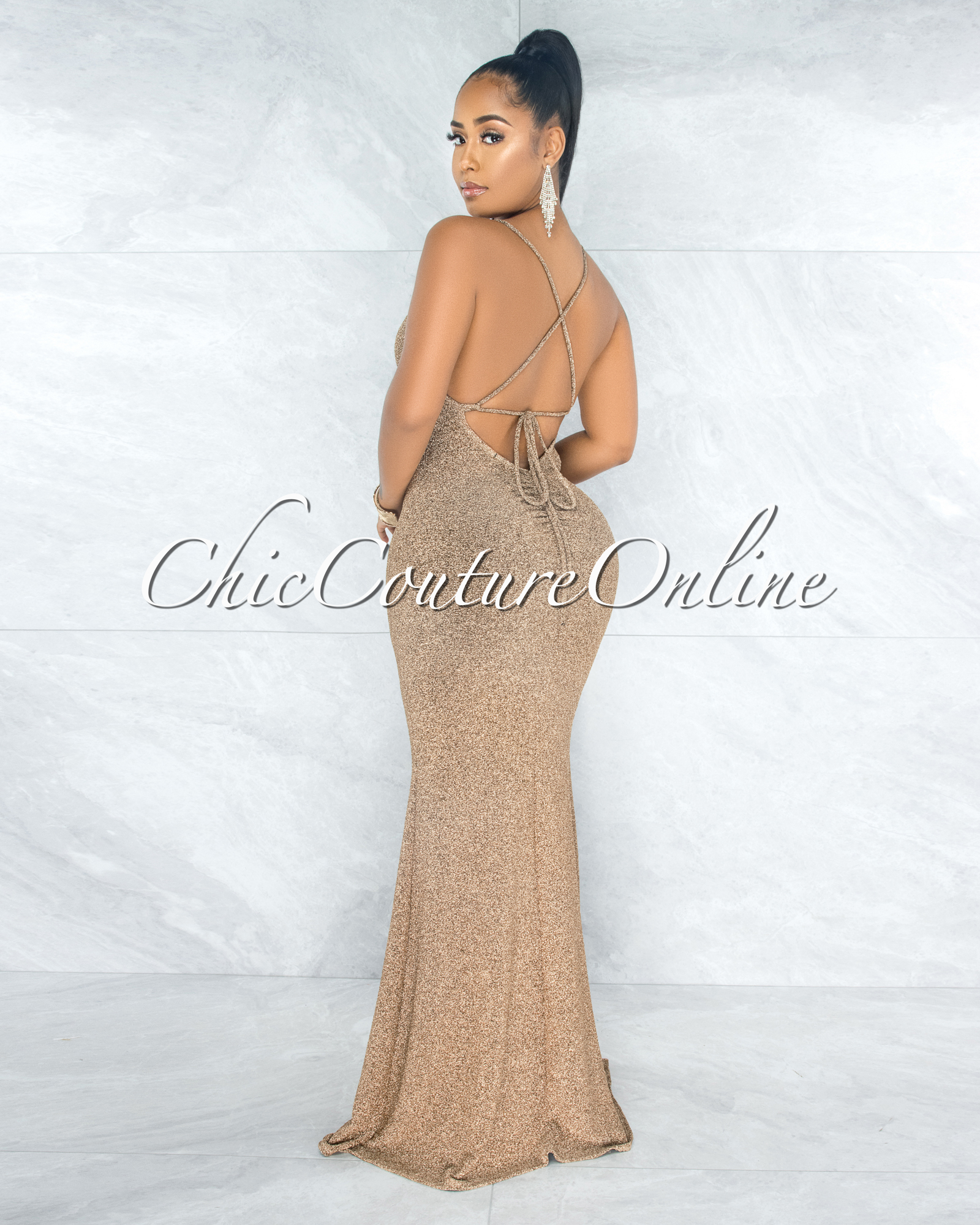 Diamante Gold Shimmer Lace-Up Back Maxi Dress & Mask