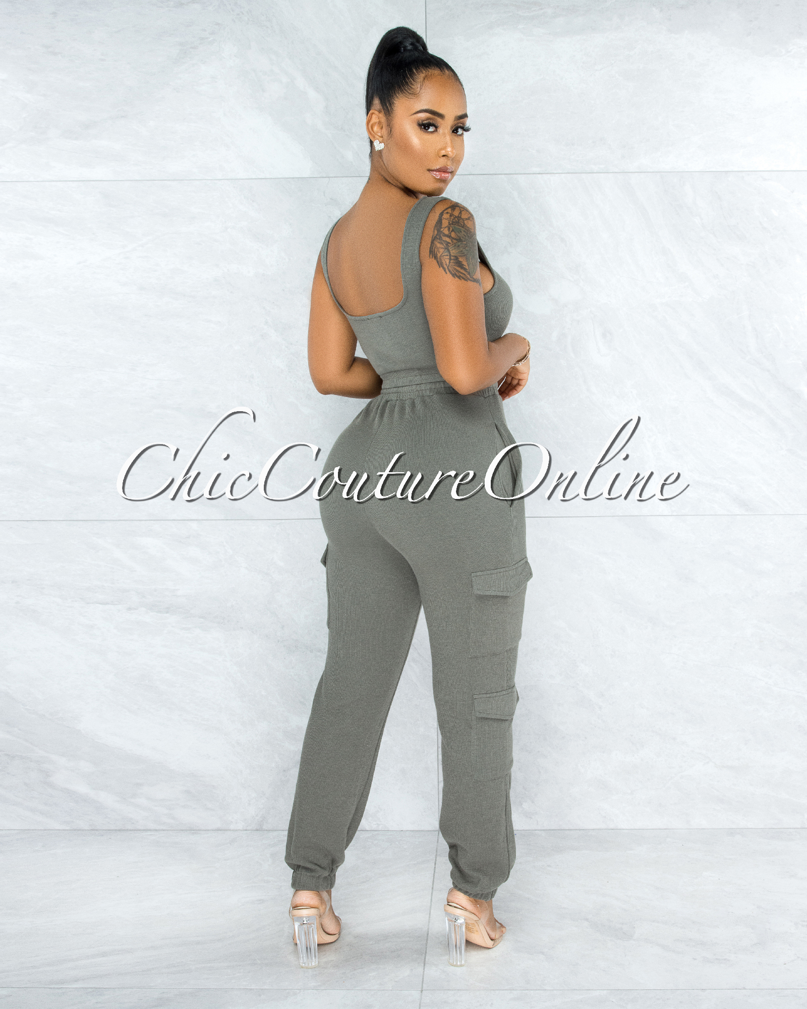 Rubio Olive Green Ribbed Crop Top Jogger Cargo Set
