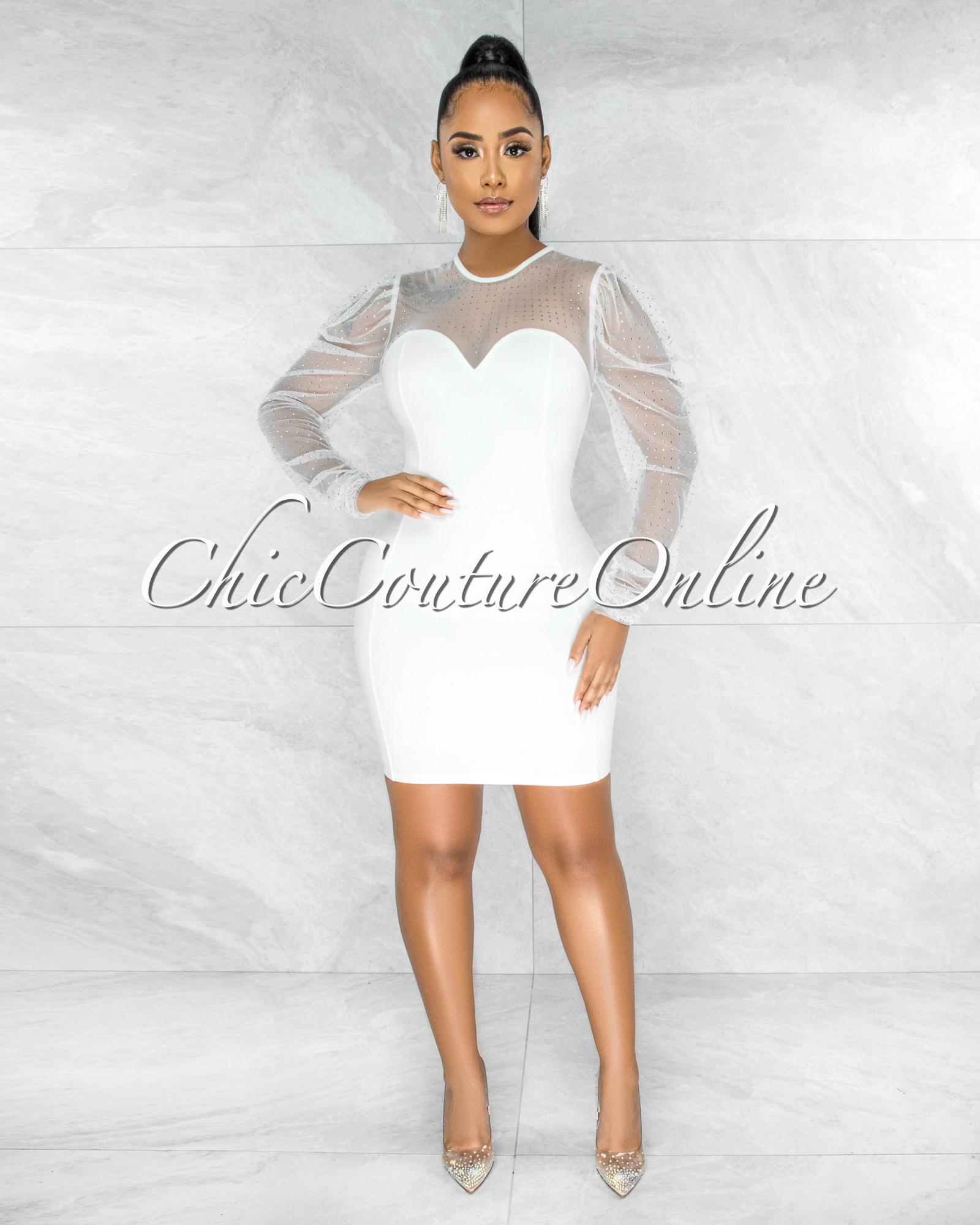 Merton Off-White  Rhinestones Tulle Neck & Sleeves Dress