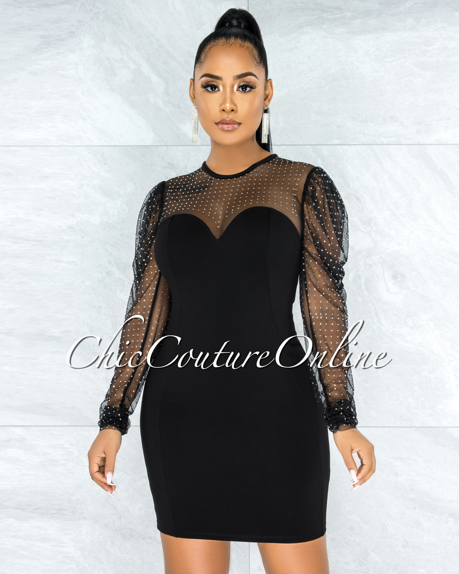 Merton Black Rhinestones Tulle Neck & Sleeves Dress