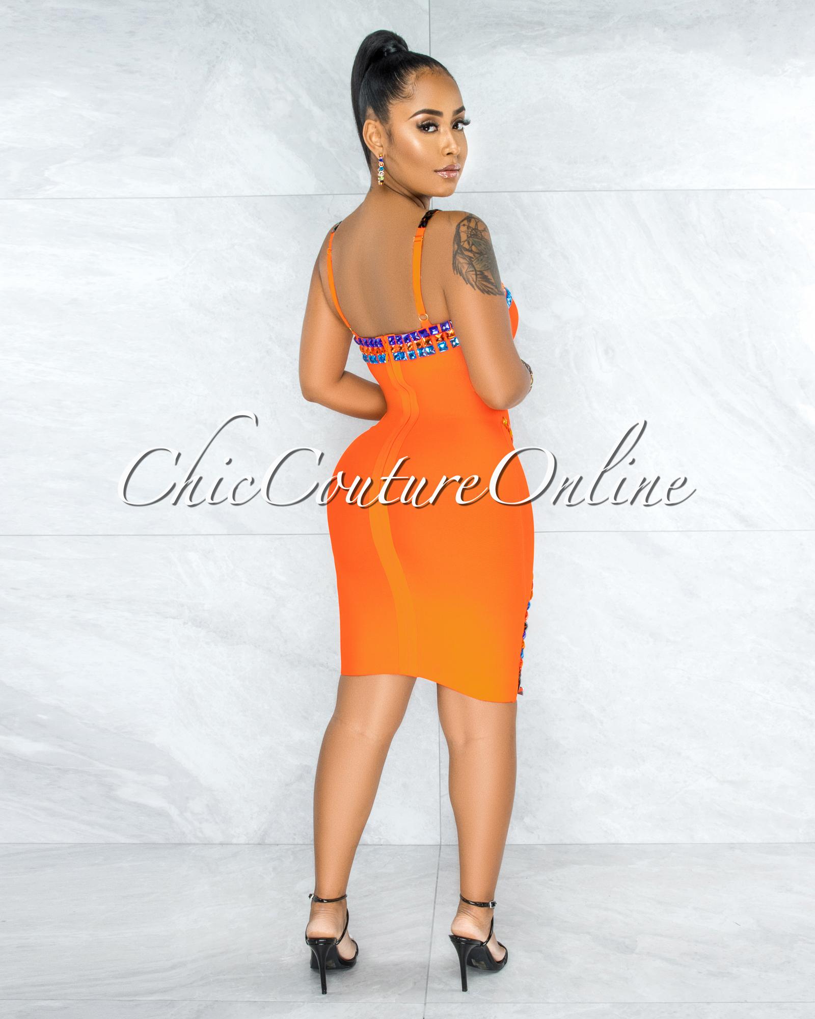 Thalissa Orange Multi-Color Rhinestones Bandage Dress