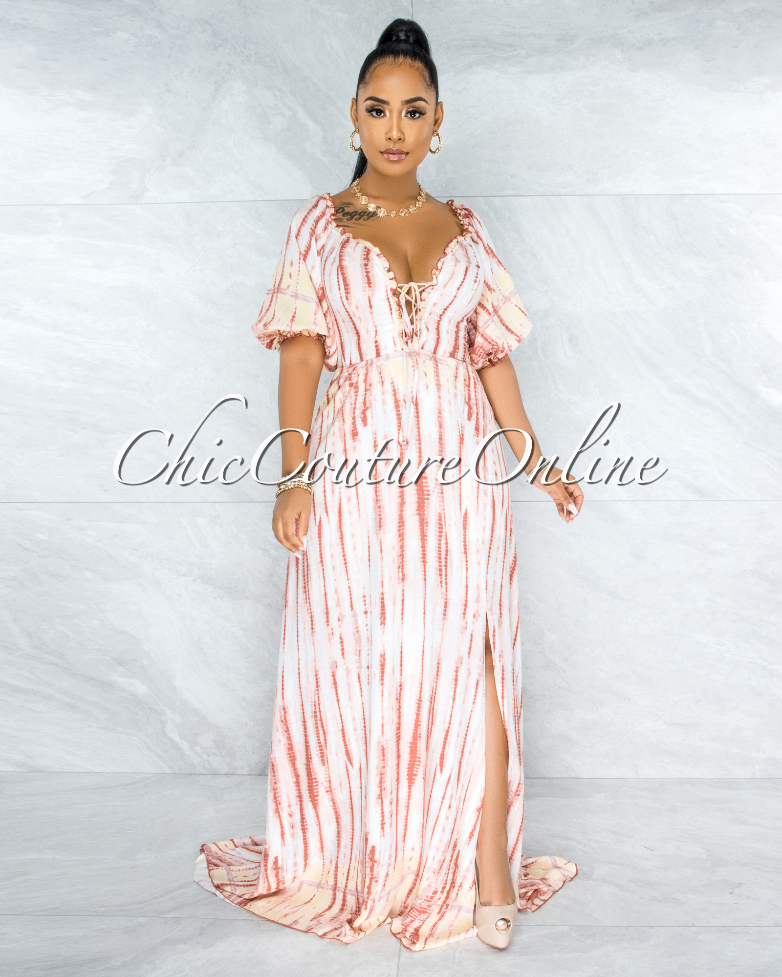 Octavia Pink Tie-Dye Lace-Up Top Off-The Shoulder Maxi Dress