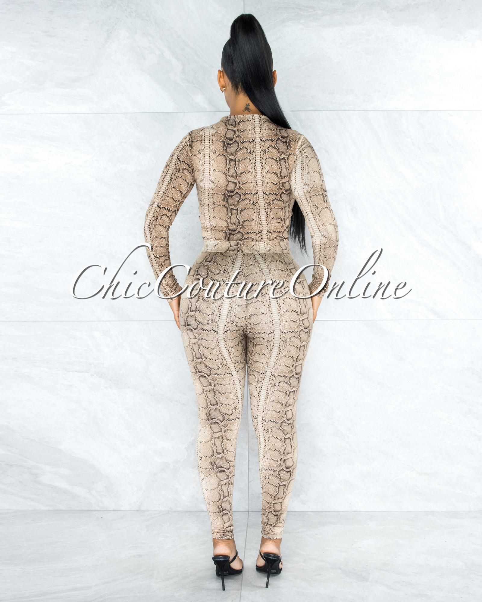 Albertina Snake Print Long Sleeve Crop Top