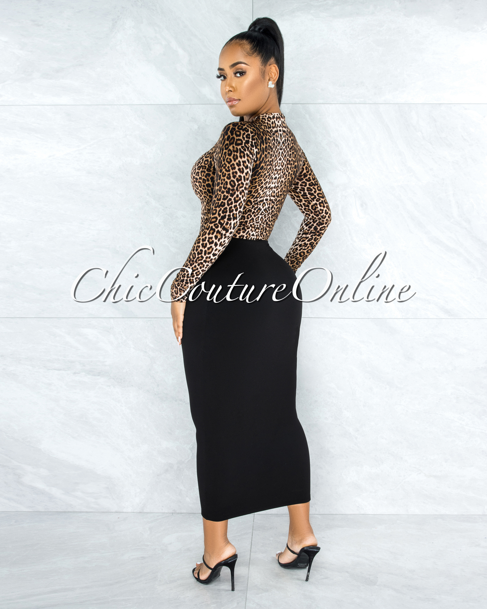 Albertina Leopard Print Long Sleeve Crop Top