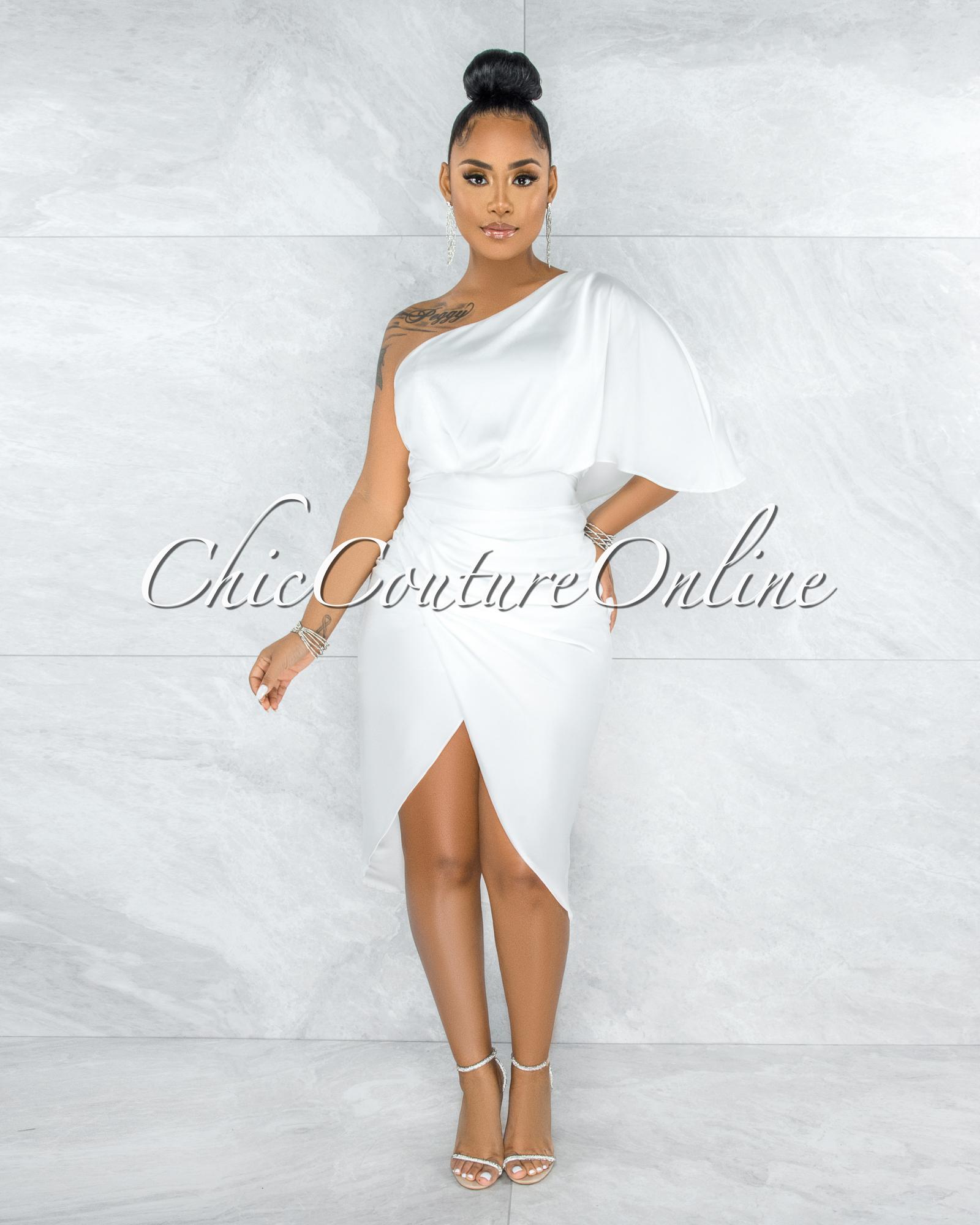 Babette White Draped Single Shoulder Midi Dress