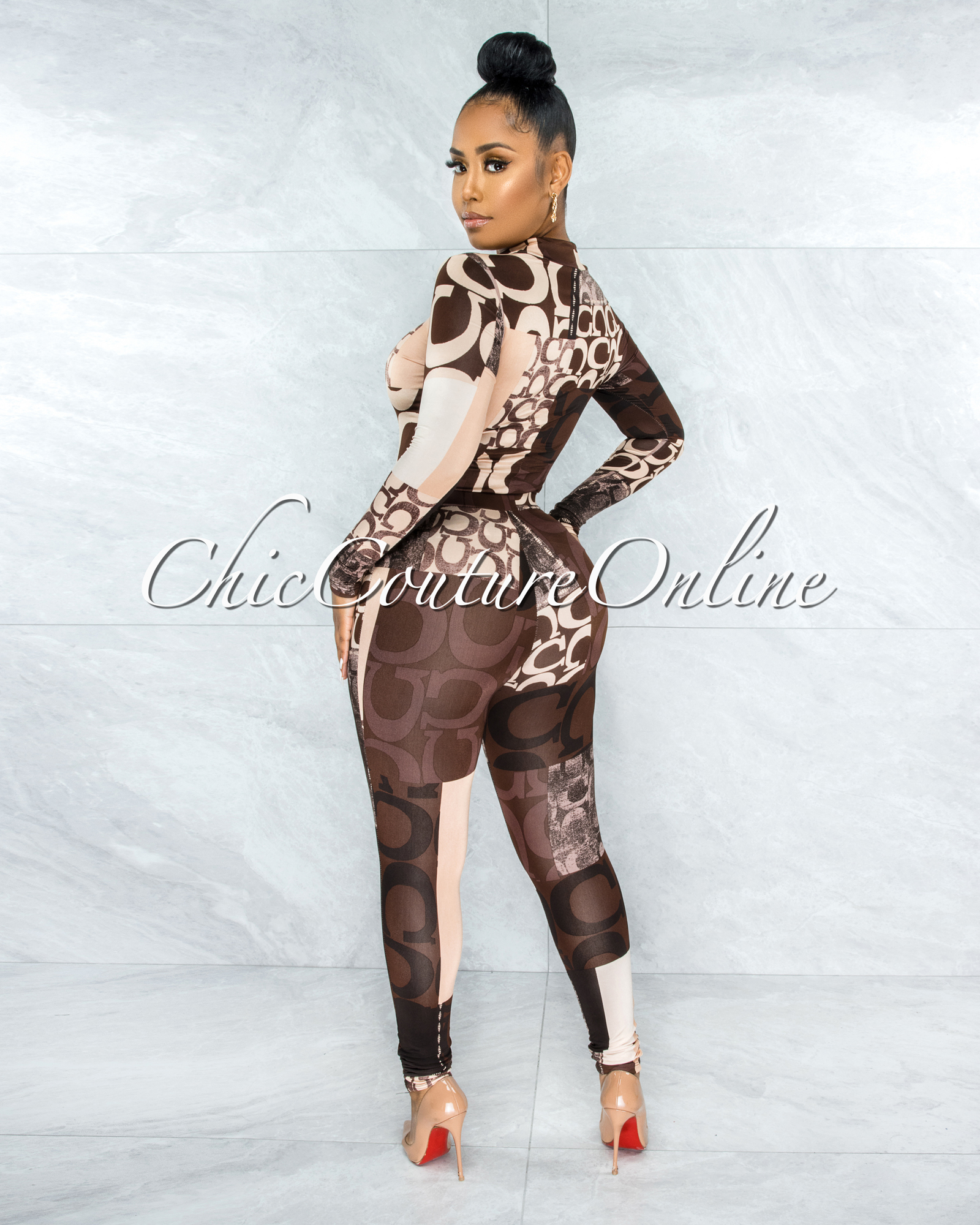 Vasuda Brown Black Nude Print Long Top & Leggings Set